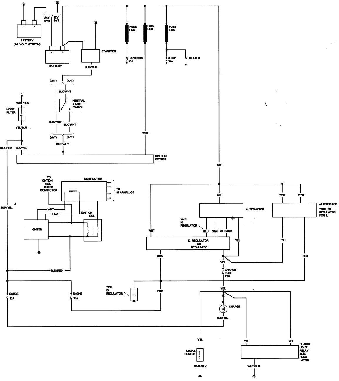 4 Wire Alternator Wiring Diagram Ford Inside Voltage Regulator With 24V