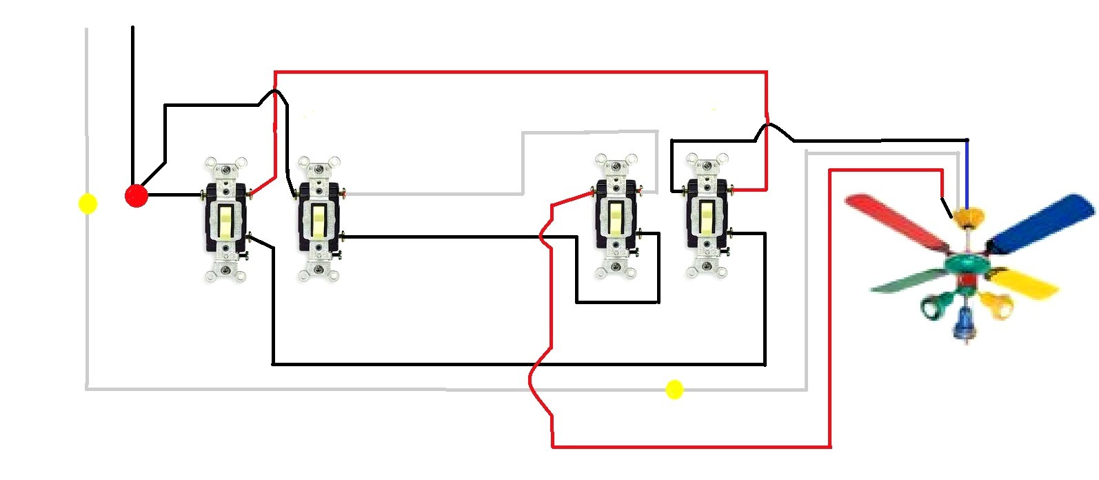 3 way light switching wiring diagram awesome wiring diagram image rh mainetreasurechest com wiring a 3 way switch ceiling fan diagram Ceiling Fan Speed Switch Wiring
