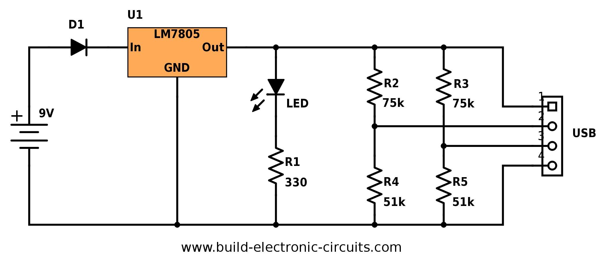 Portable USB charger circuit diagram