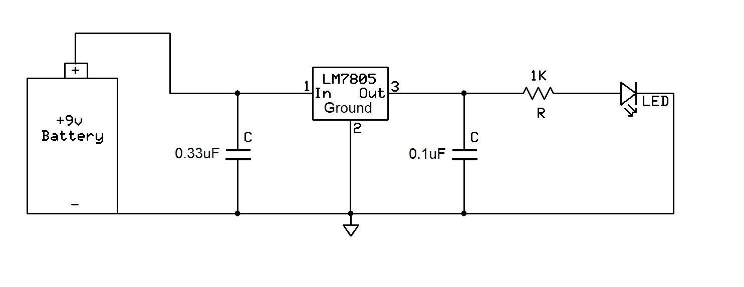 LM7805 voltage regulator circuit