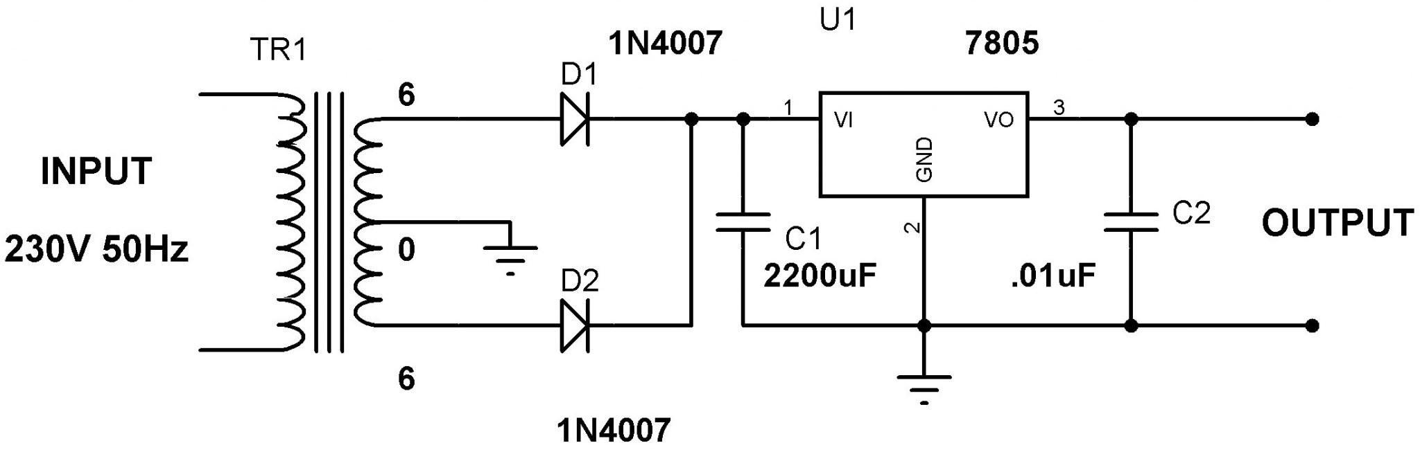 5V Power Supply Circuit using 7805 Voltage Regulator