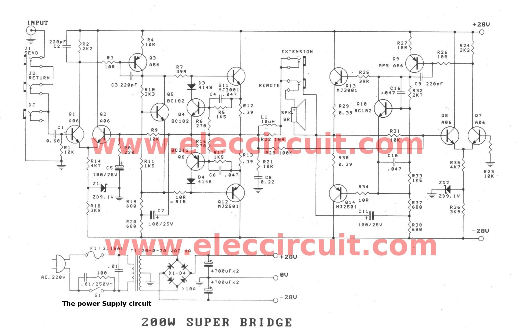 Basic Amplifier Circuit Diagram New Wiring Image Electronic Projects Watts Super Bridge Power Amplifiers Circuits The 4 Ohm