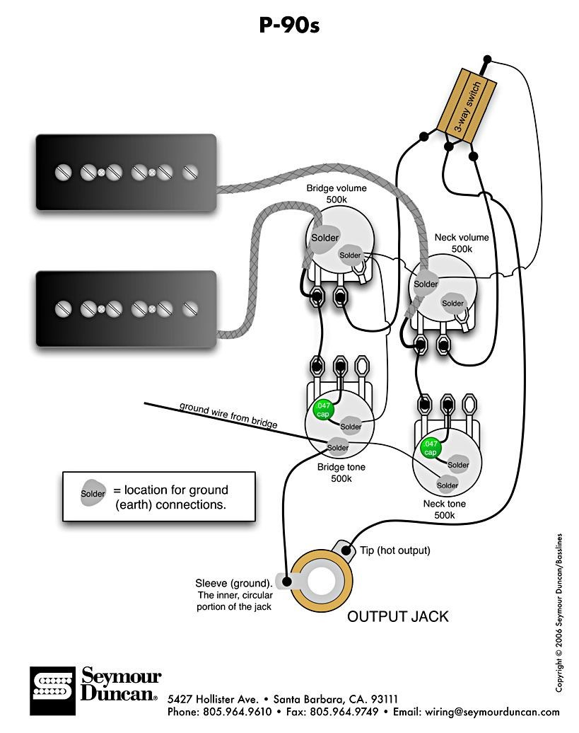 P 90s 2 Vol 2 Tone &Switch