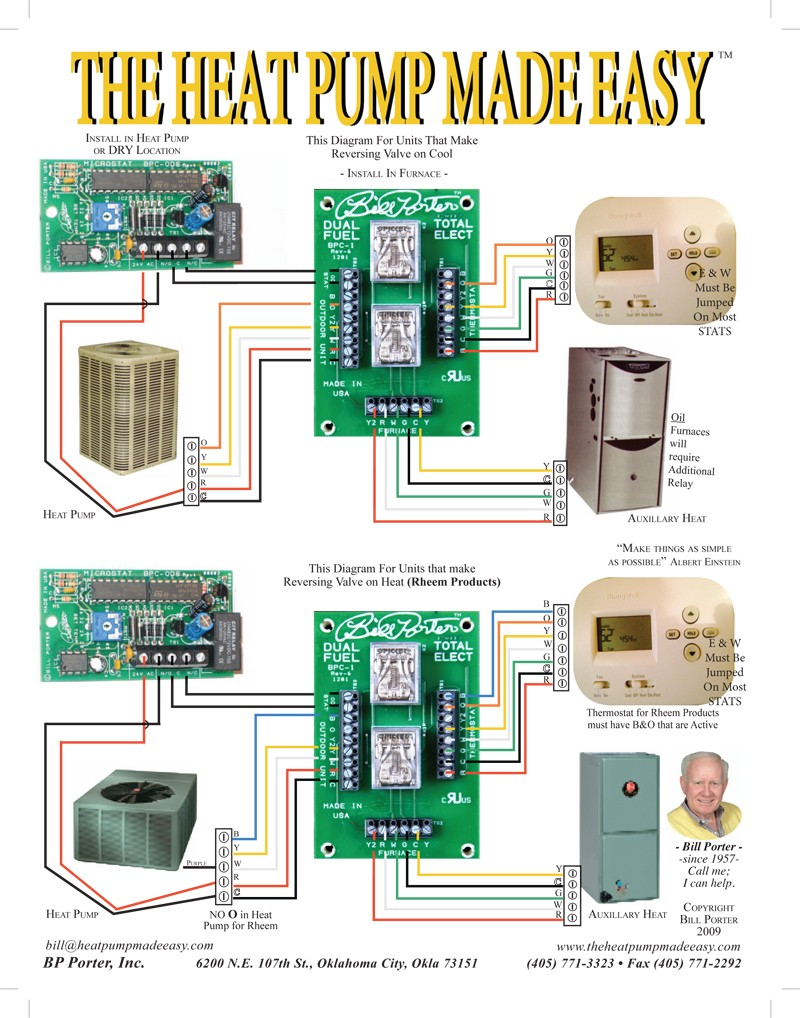 ... heat pump thermostat wiring diagram , source:thespartanchronicle.com.  BP Porter Controls with Braeburn thermostat 3 piece package image