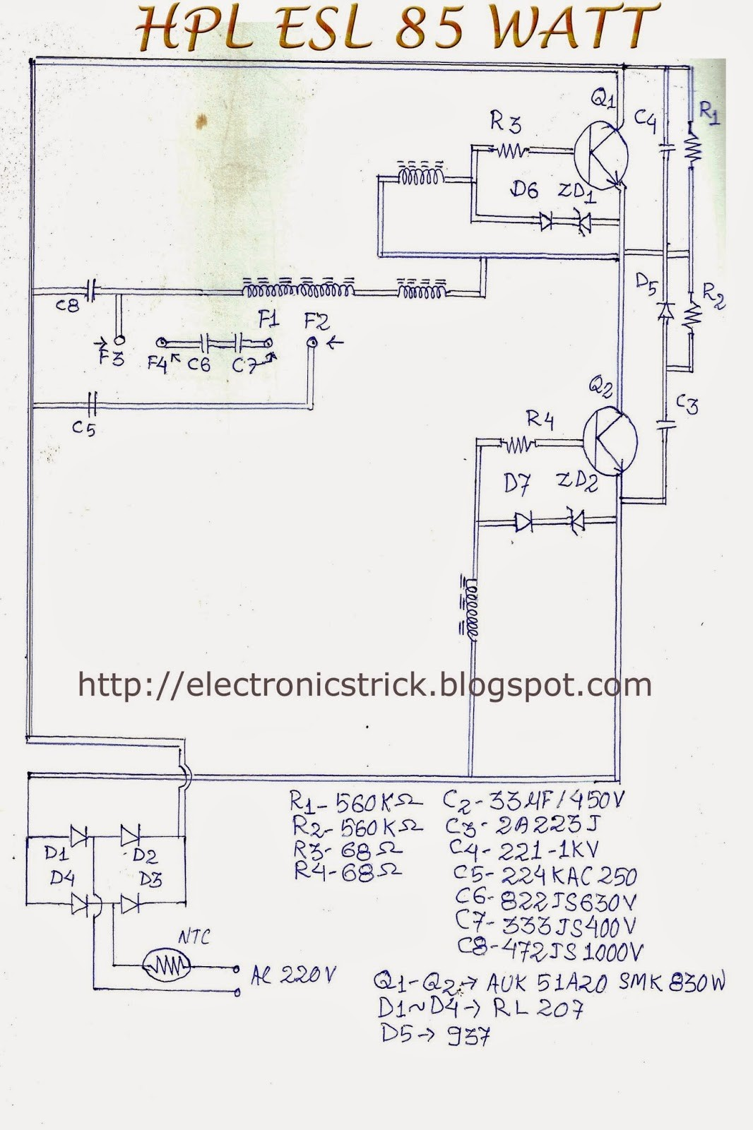 HCL ESL 85 WATT CFL BULB CKT DIAGRAM