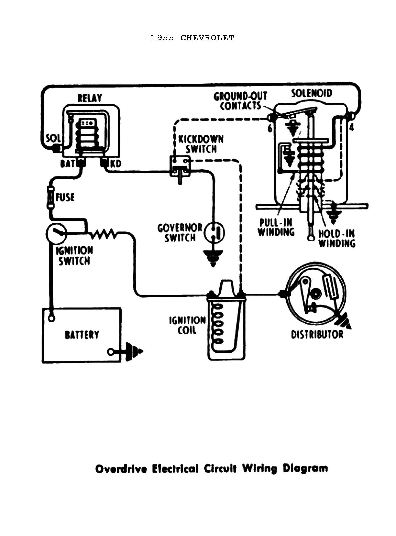 1955 Power Windows & Seats · 1955 Overdrive Circuit Chevy Wiring diagrams from gm starter solenoid