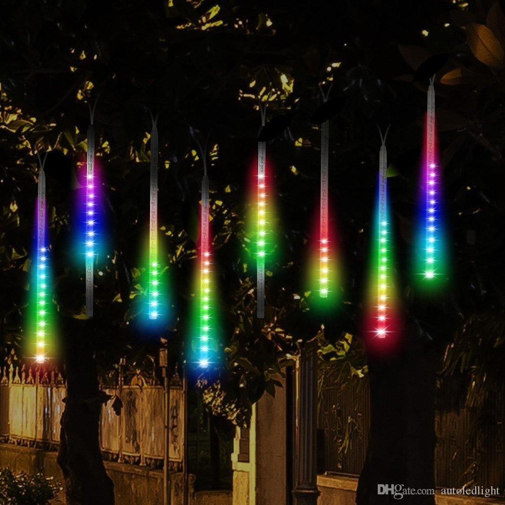Led Meteor Shower Rain Lights Drop Icicle Snow Falling Raindrop 30cm 8 Tubes Waterproof Cascading Lights For Wedding Xmas Home Decor Led Light Strings Light