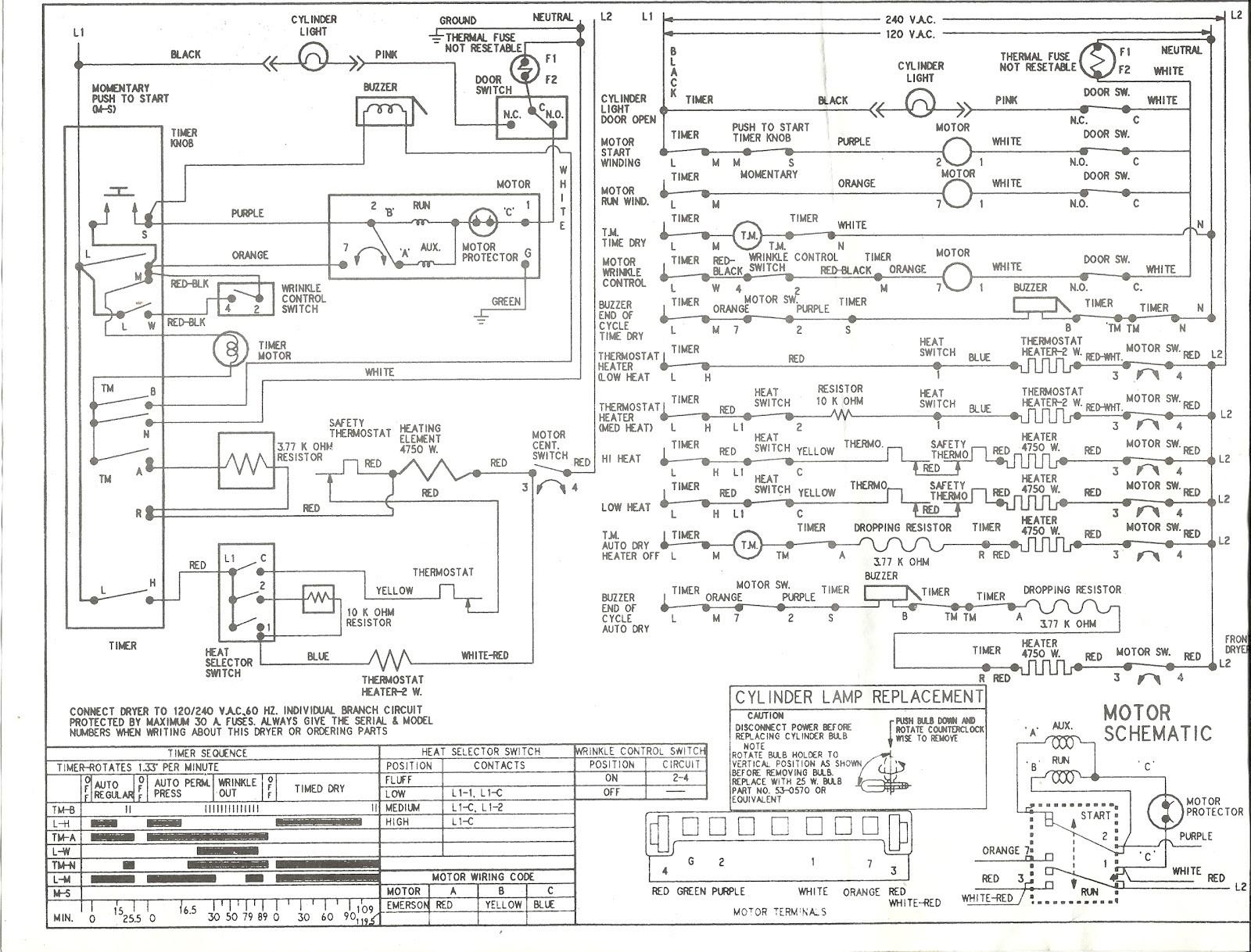 Kenmore Series Electric Dryer Wiring Diagram Schematic