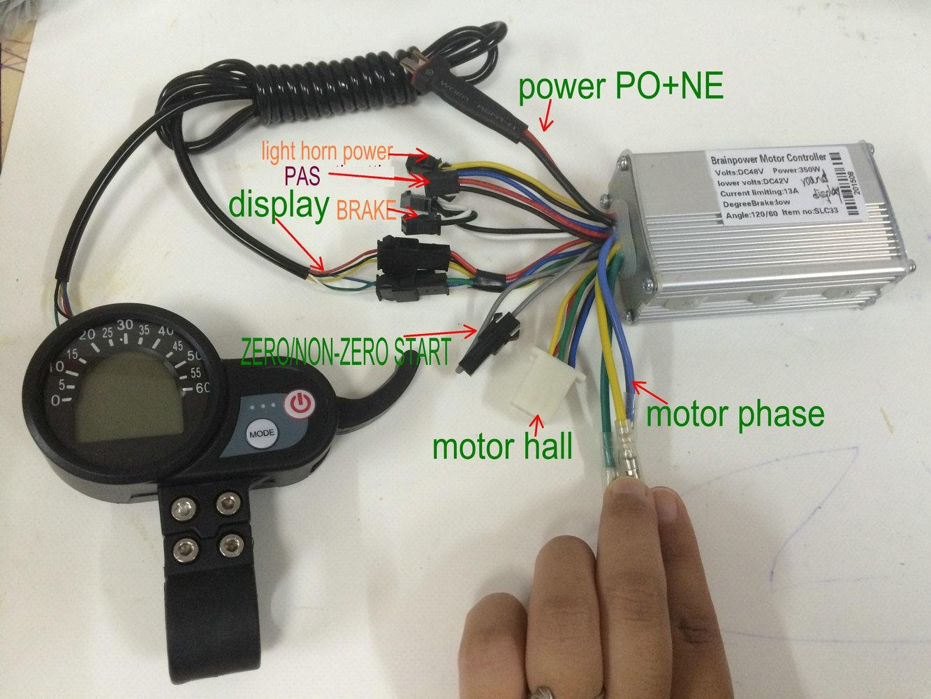 24v36v48v250w350w BLDC controller & LCD display with throttle electric bike moped MTB scooter parts colored or blue screen