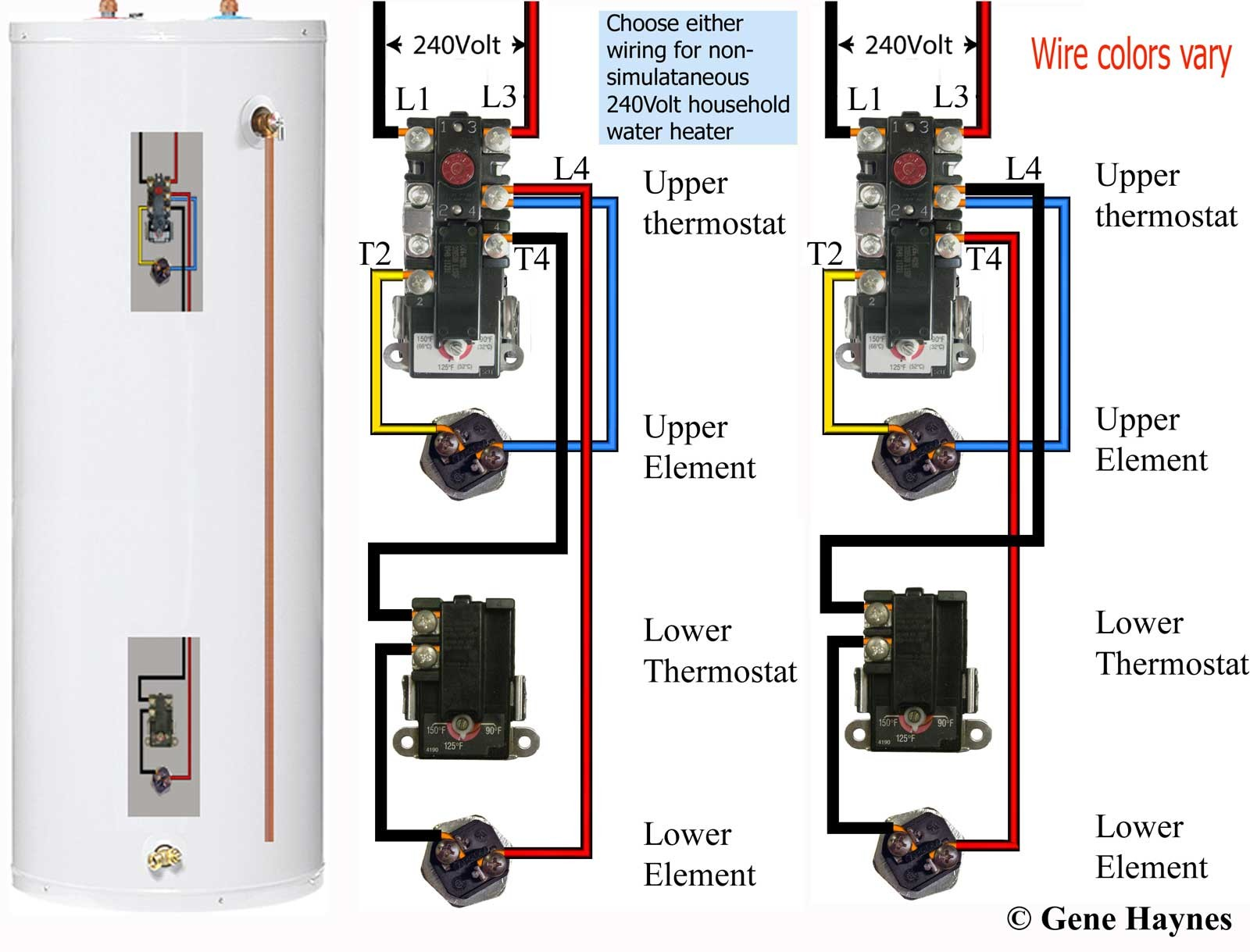 See larger Residential dual element water heater Both elements are never on at same time unless tank is wired for other purpose see owners manual