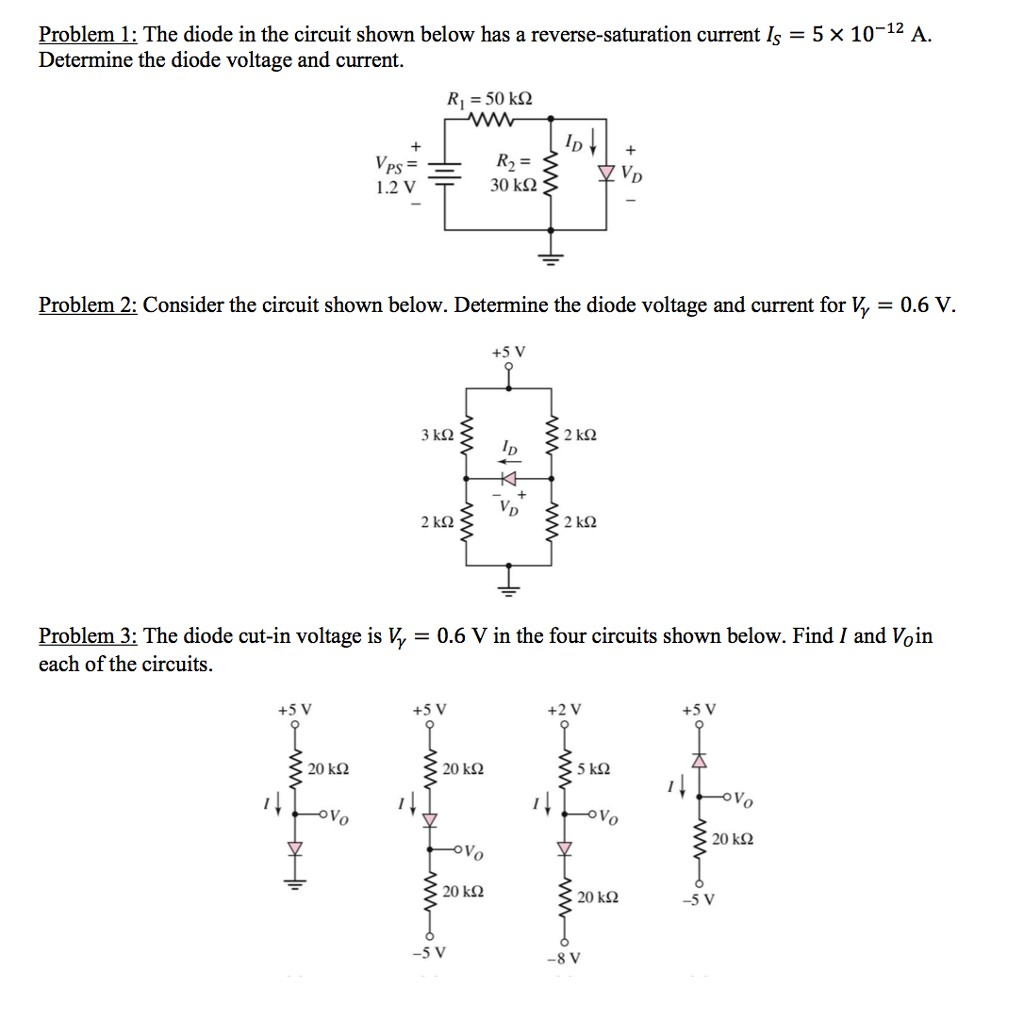 Problem 1 The diode in the circuit shown below has a reverse saturation current