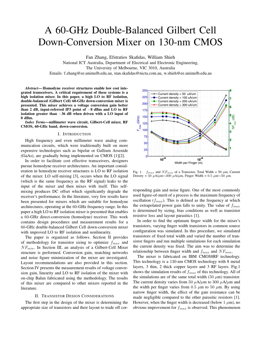 A 60 GHz double balanced Gilbert Cell down conversion mixer on 130 nm CMOS PDF Download Available