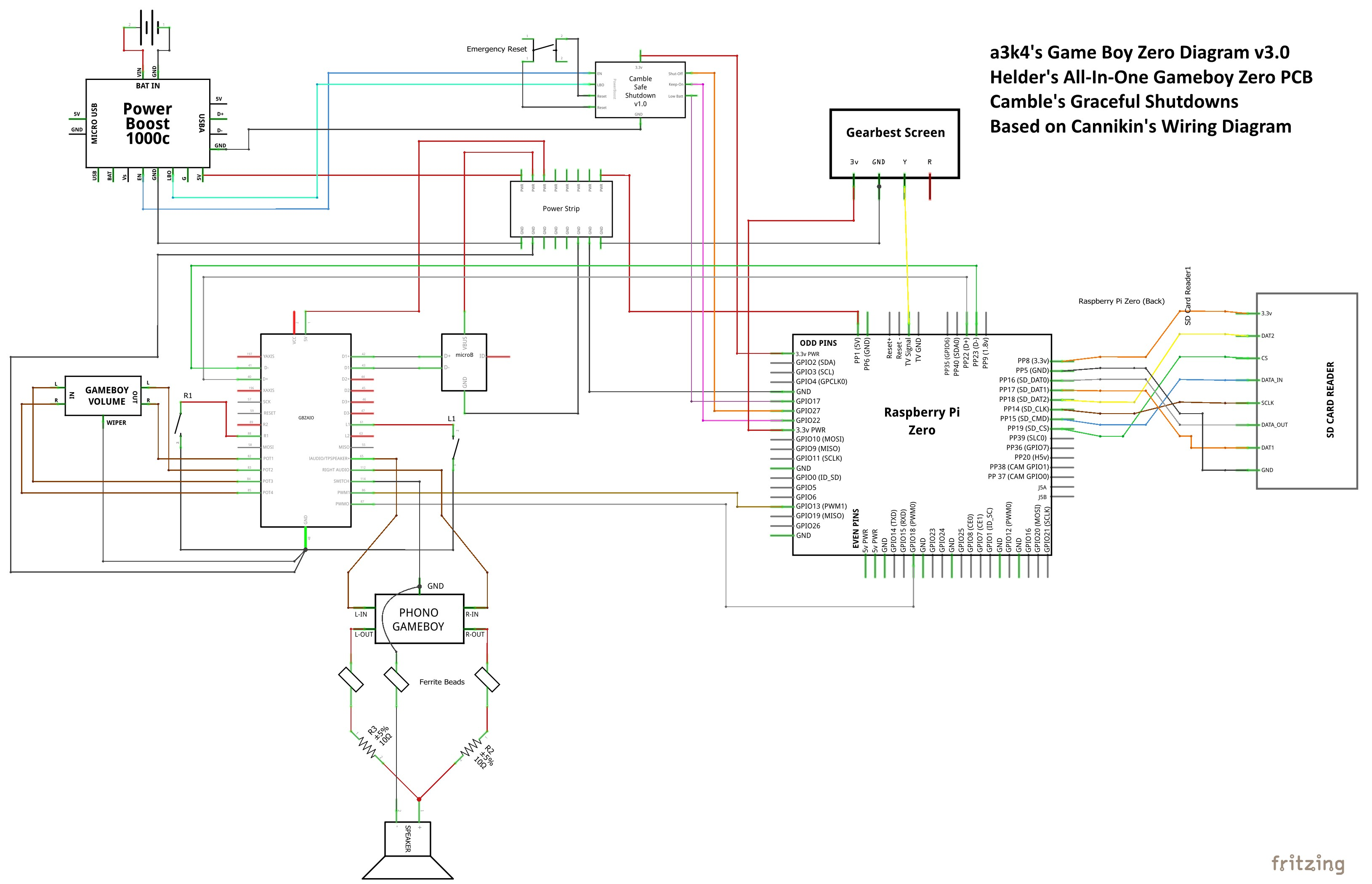 Wiring diagrams v2 5 Useful for non DMG audio and if you re not using Camble s Graceful Shutdown