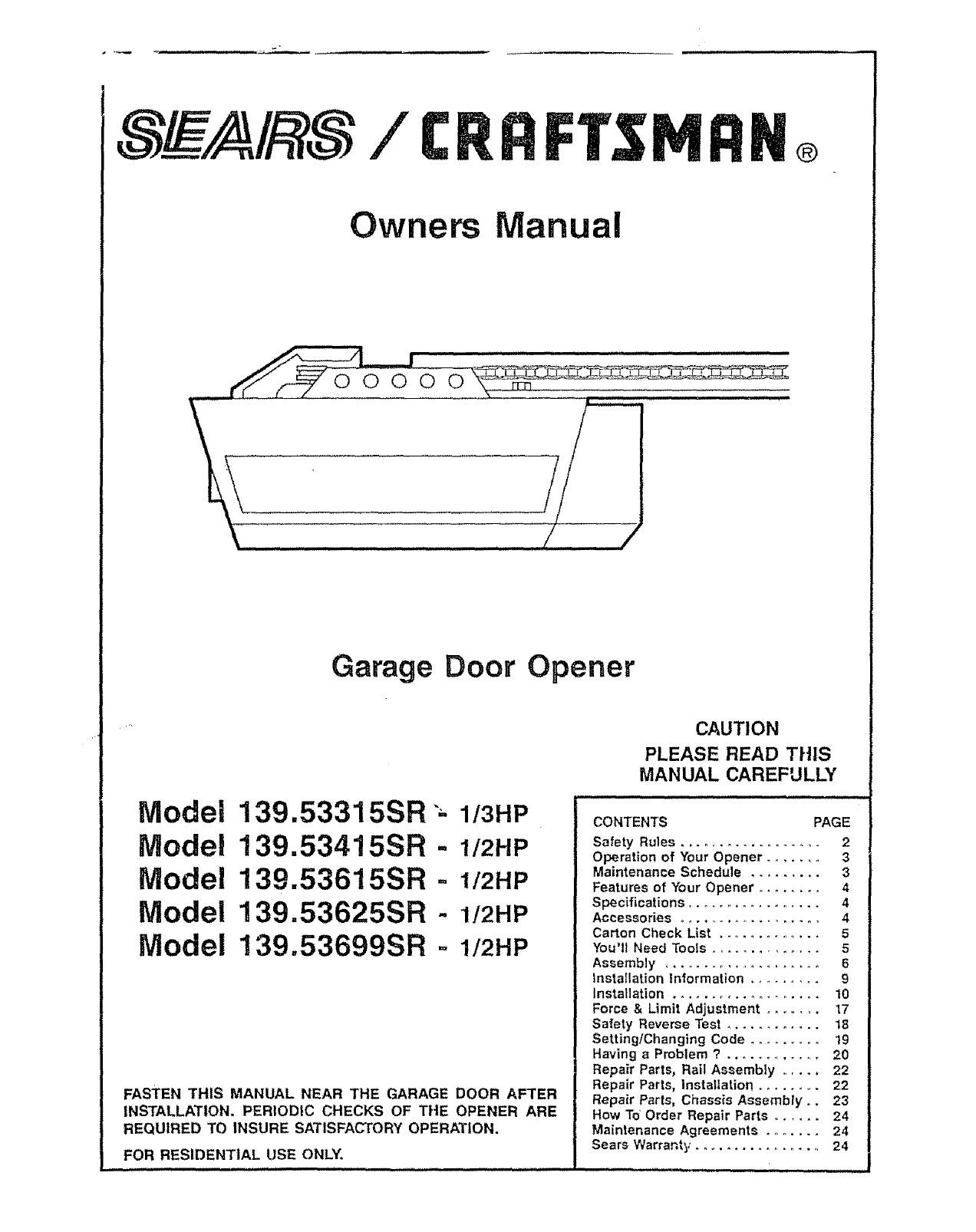 Craftsman Garage Door Opener 139 SR User Guide For Wiring Diagram