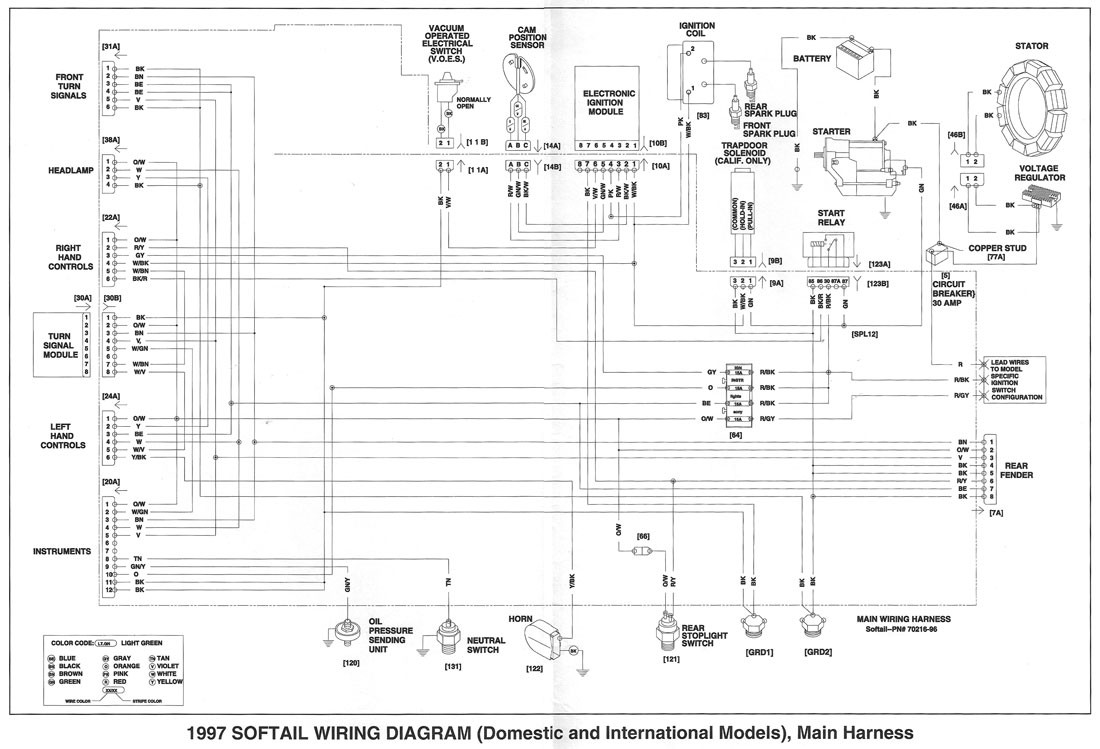 1997 harley fxst wiring diagram wire center u2022 rh escopeta co Harley-Davidson Coil Wiring Diagram Harley Sportster Wiring Diagram