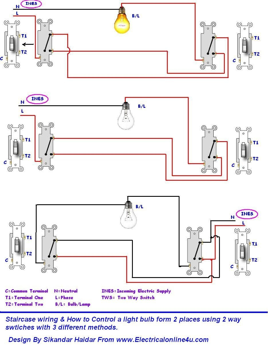 Do Staircase Wiring Circuit With 3 Different Methods Electrical Adorable Light Diagram