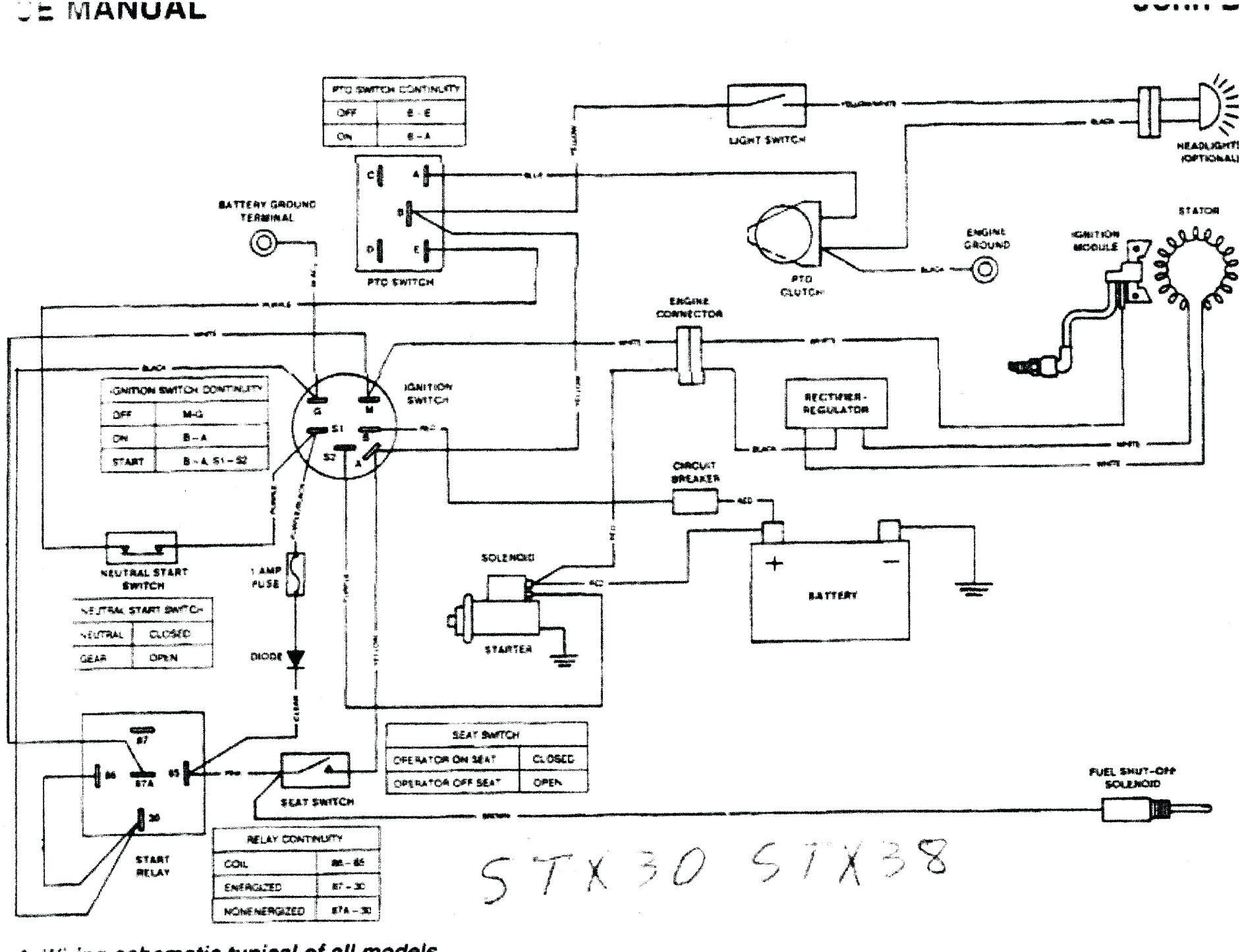 John Deere Wiring Diagrams Stx38 Diagram Free