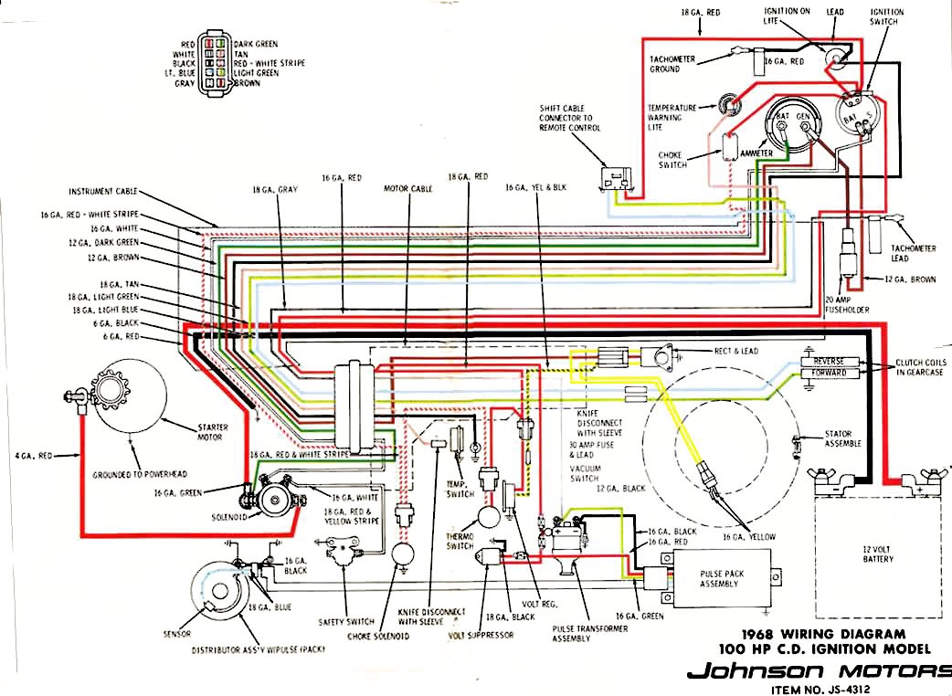 1968 Johnson 100HP V4 Selectric Wiring Diagram with CD Ignition
