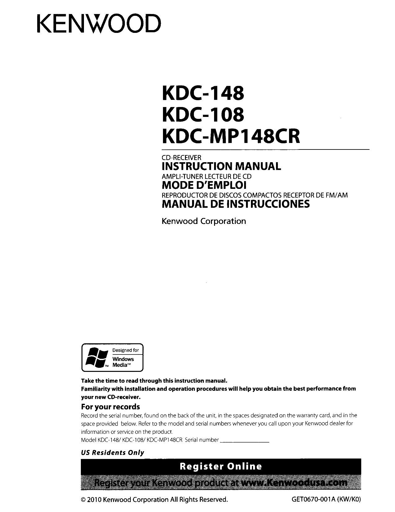 pdf for Kenwood Car Receiver KDC 148 manual