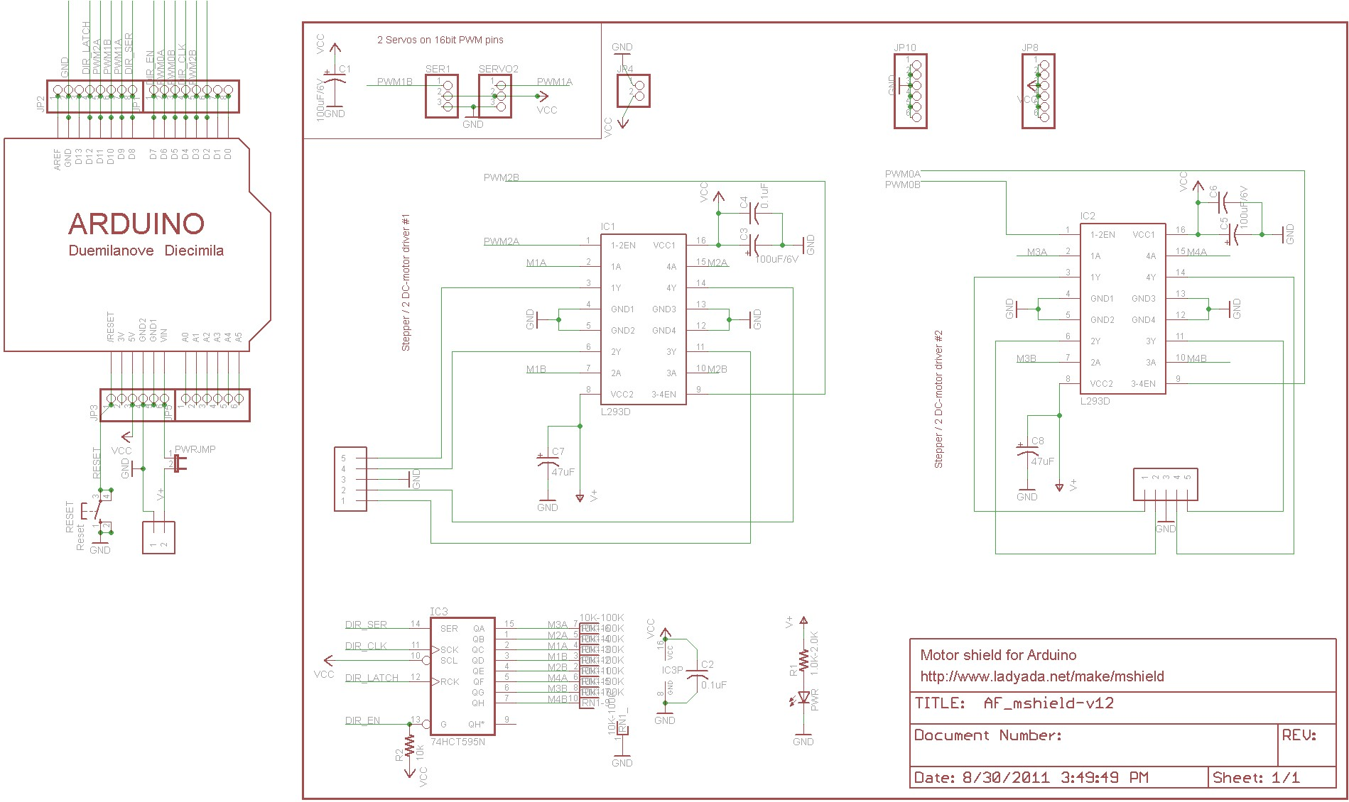 L293d Motor Drive Shield Schematic Trusted Wiring Diagram Pin Awesome Image Arduino Servo