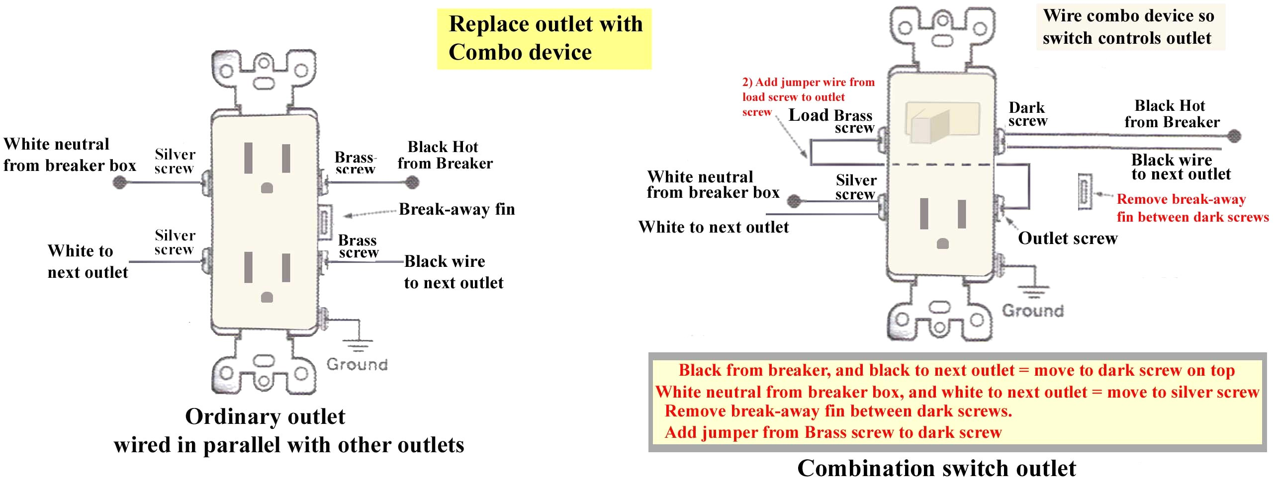 leviton switch outlet combination wiring diagram wiring diagram image rh mainetreasurechest com leviton combo switch receptacle wiring leviton combination two switch wiring diagram