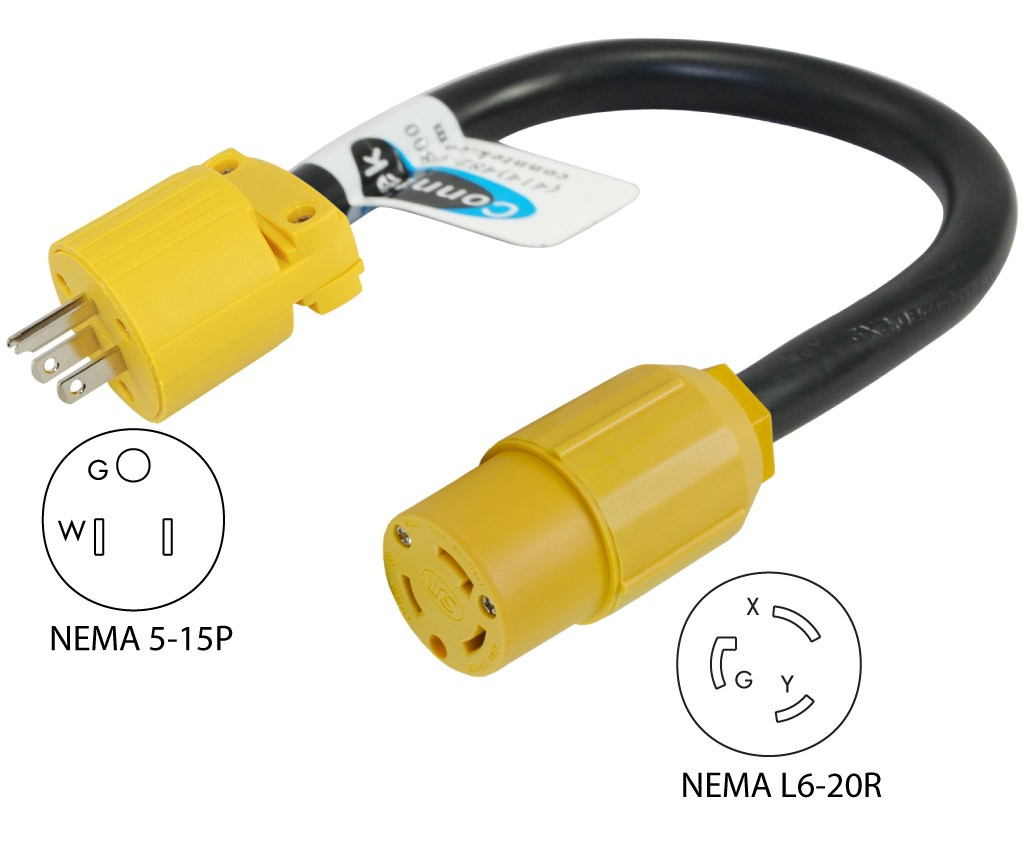 Your Position Home Products EV Green Power Adapters for Nissan Leaf & Chevy Volt NEMA 5 15P to NEMA 6 20R Pigtail Adapter Cord