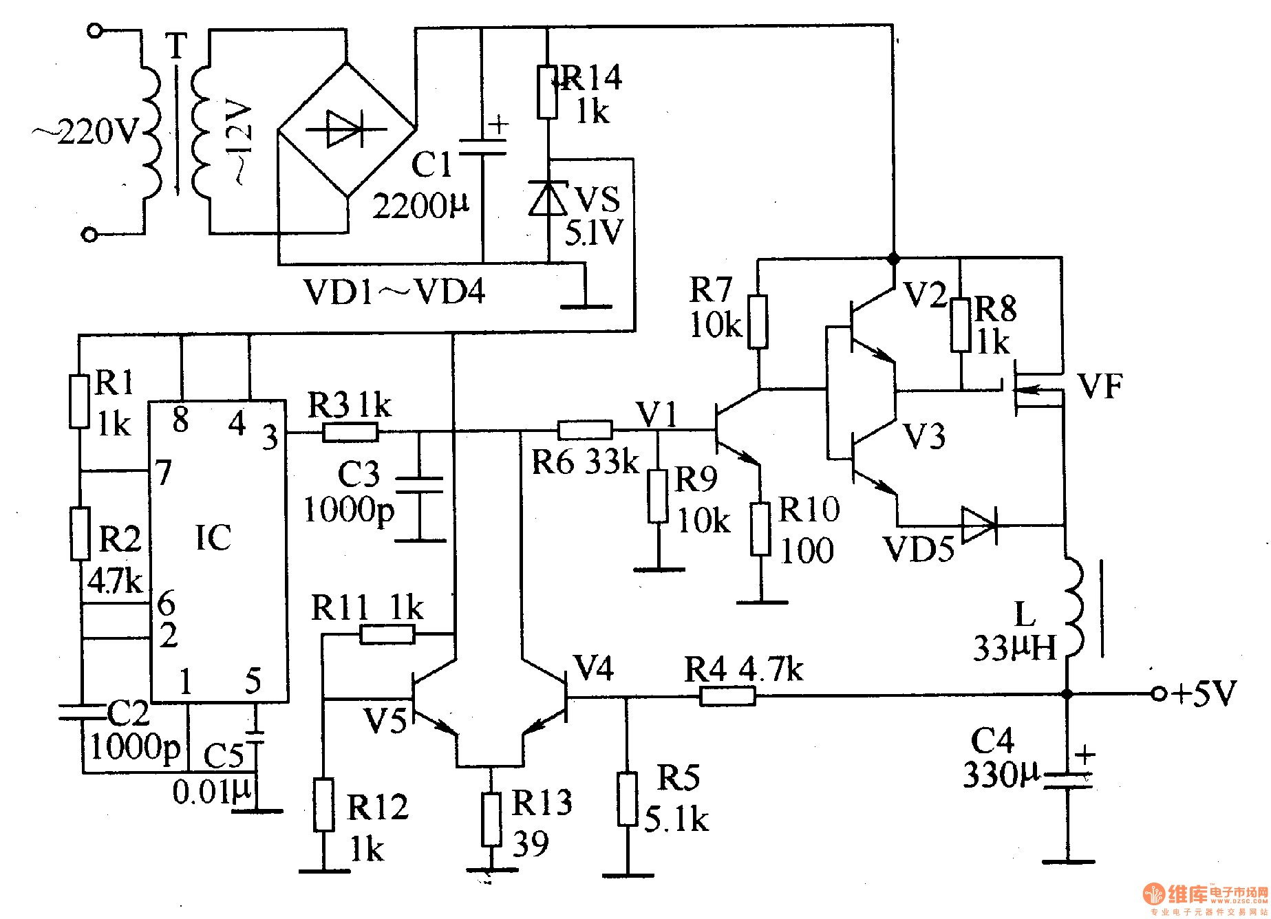 circuit diagram of regulated power supply