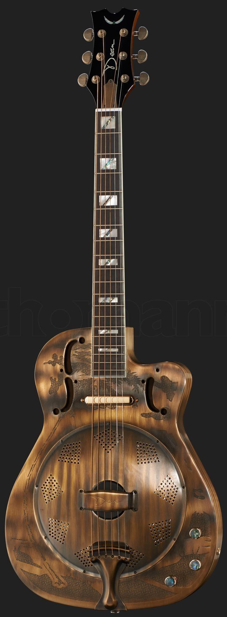 "Dean ""antique bronzed finish"" Resonator Guitar it s retro and we dig it"