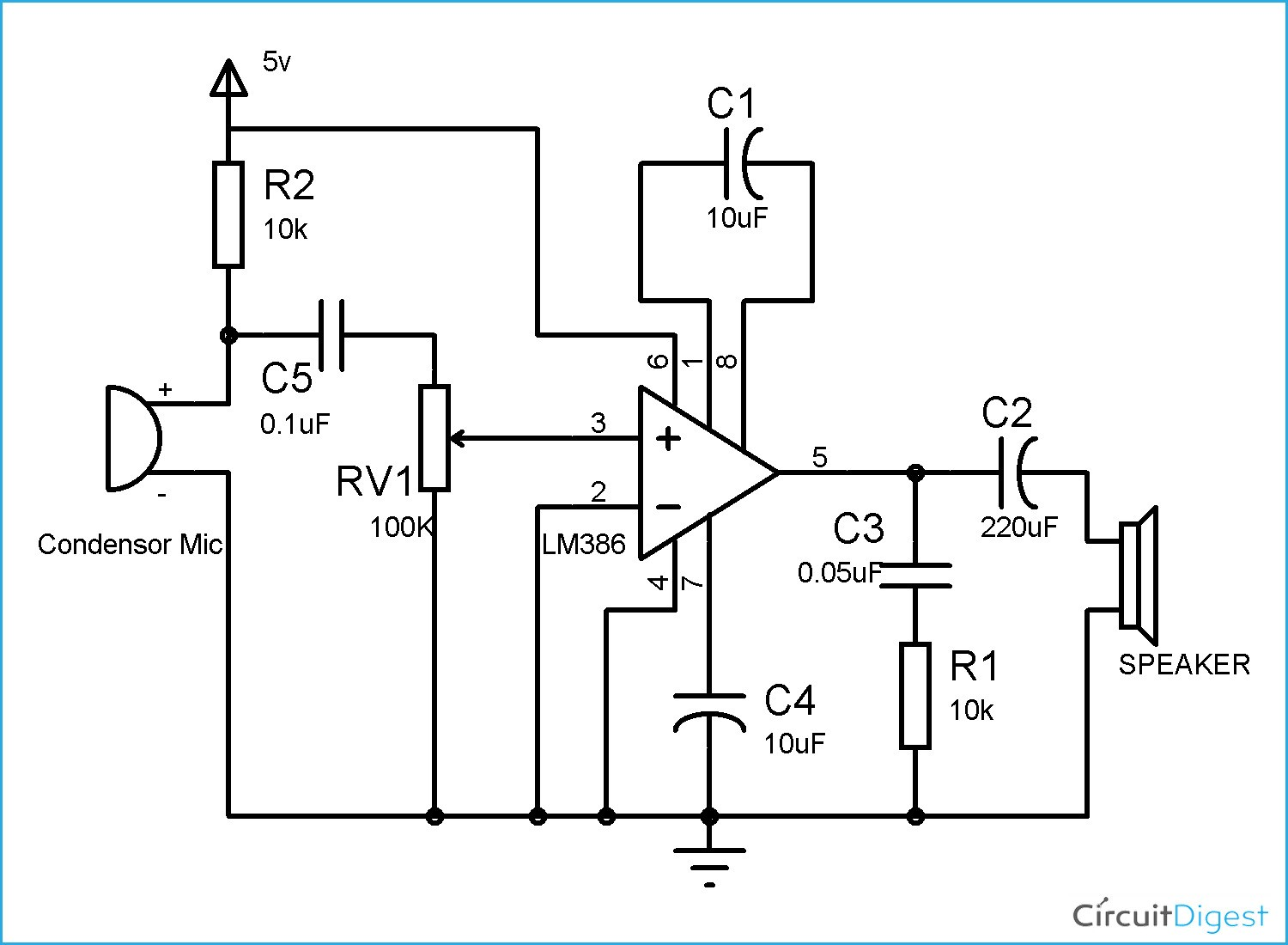 Basic Schematic Diagram Unique Lm386 Audio Amplifier Circuit Diagram