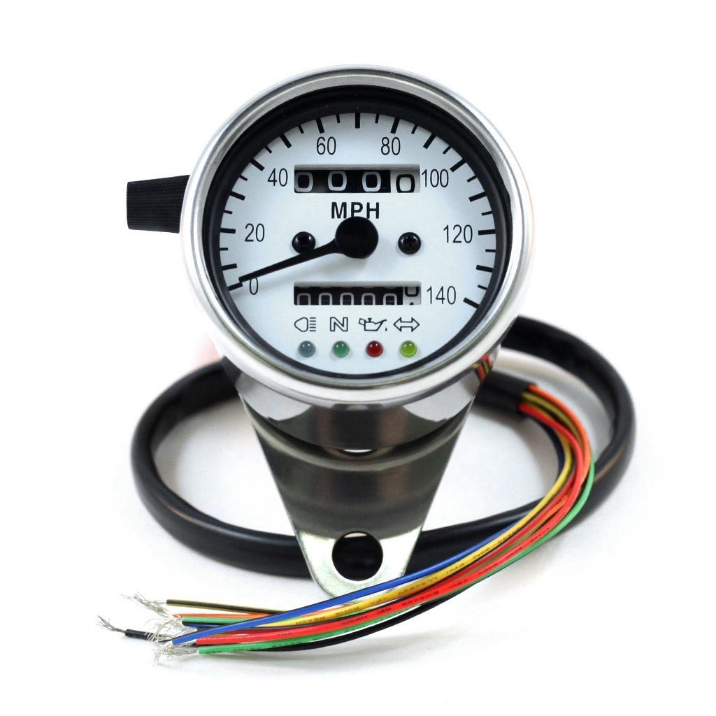 "2 5"" Chrome Mini Speedometer w White Face & LED Indicator Lights"