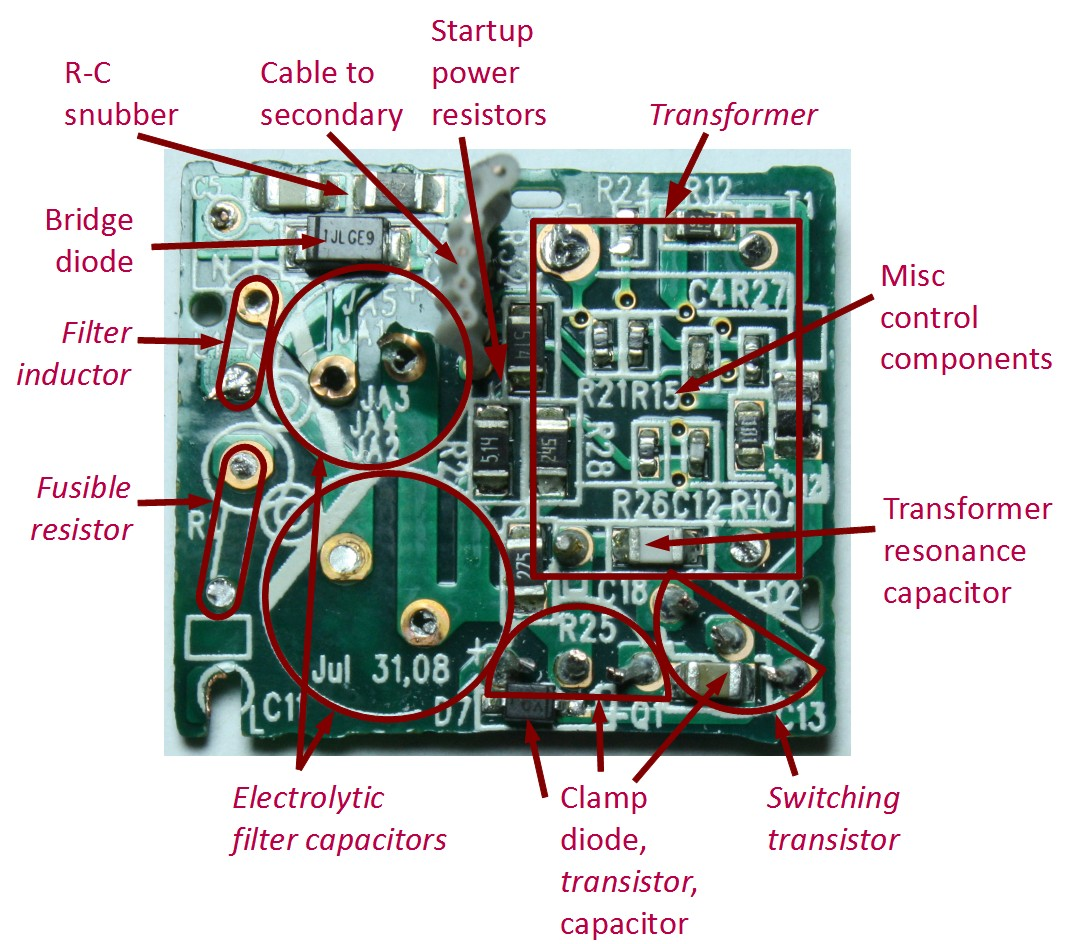 Apple iPhone charger showing the primary circuit board with some ponents removed