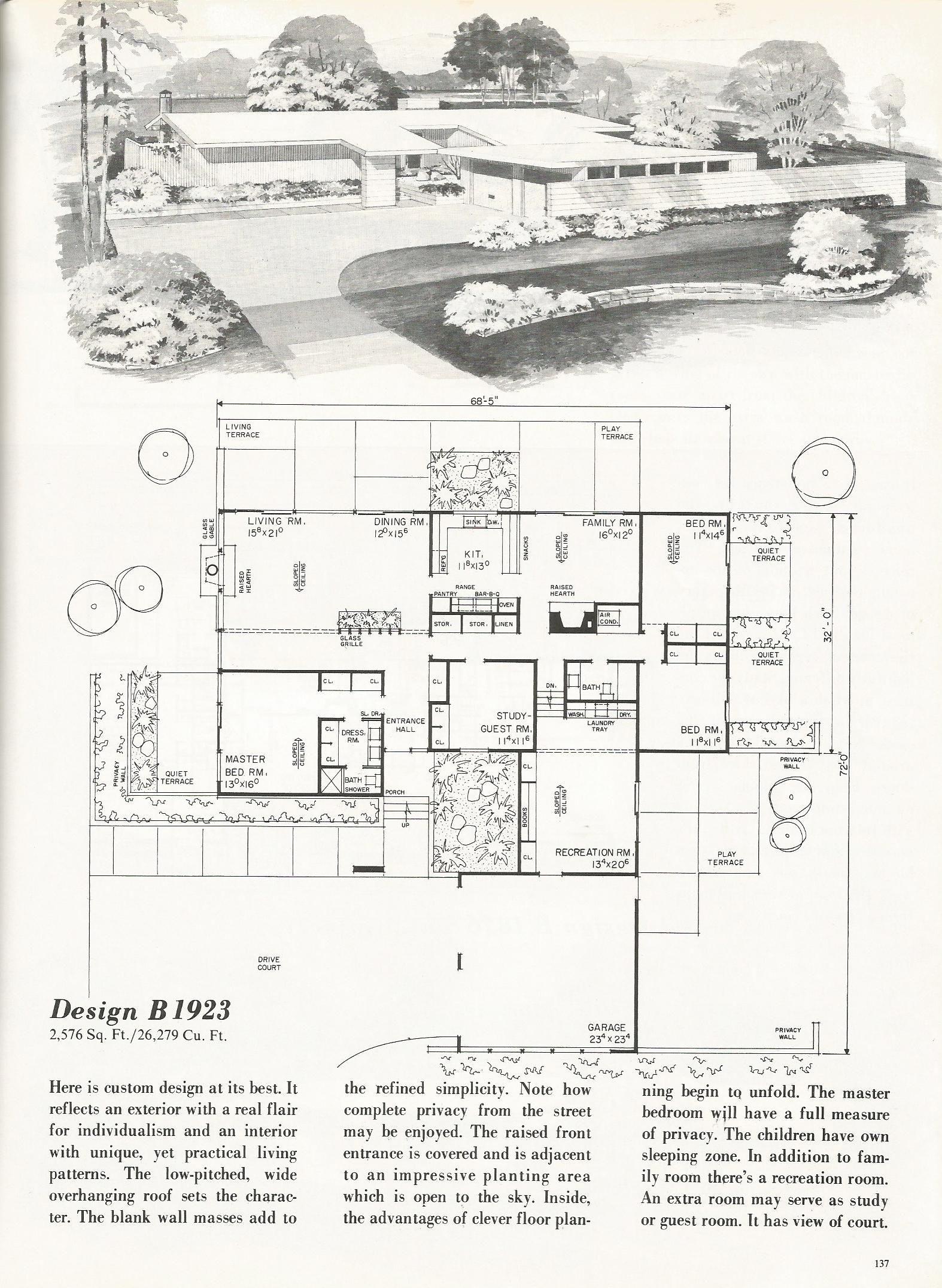 Vintage House Plans mid century homes