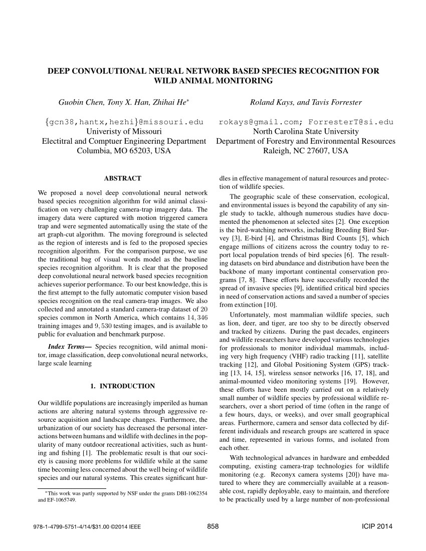 Deep convolutional neural network based species recognition for wild PDF Download Available