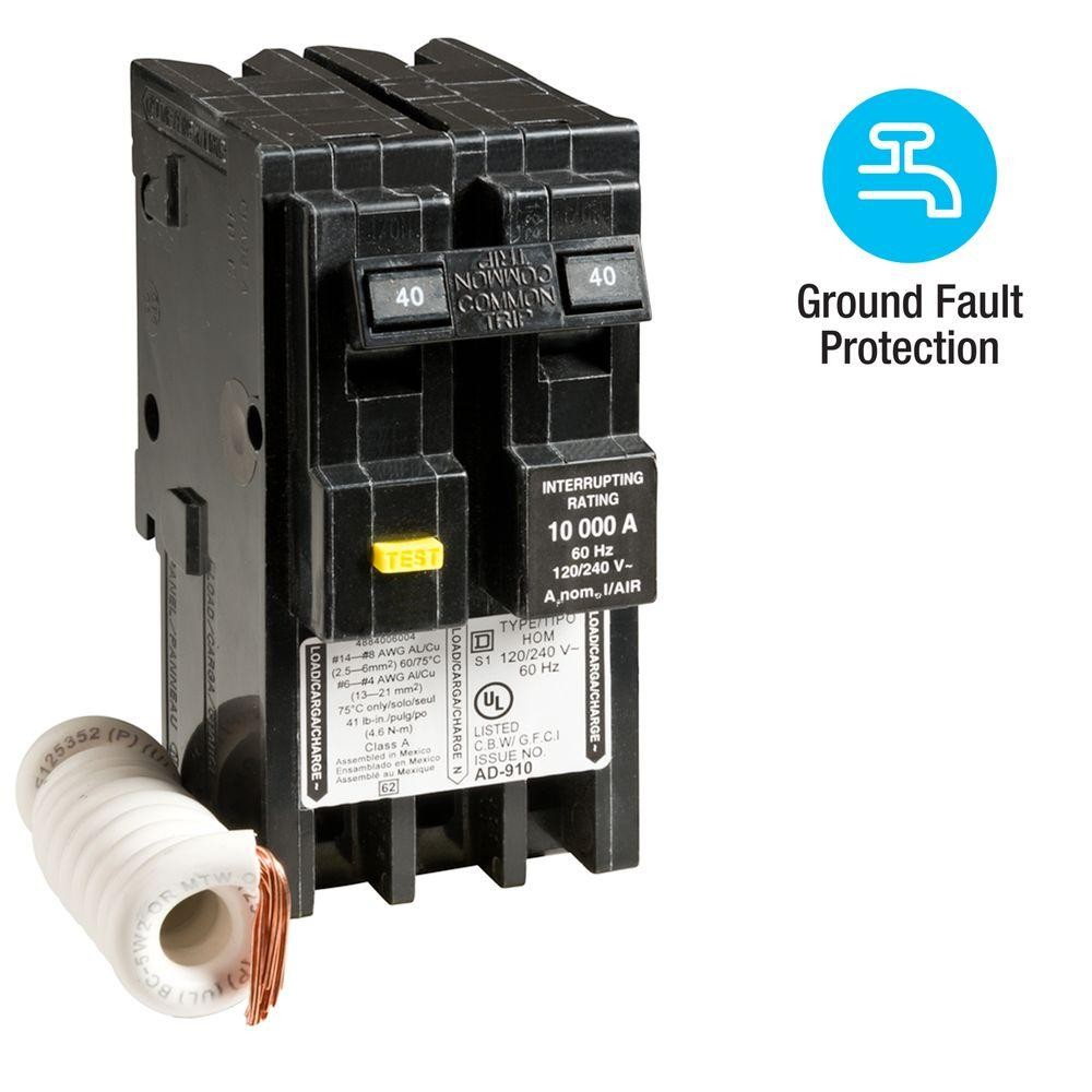 Homeline 40 Amp 2 Pole GFCI Circuit Breaker