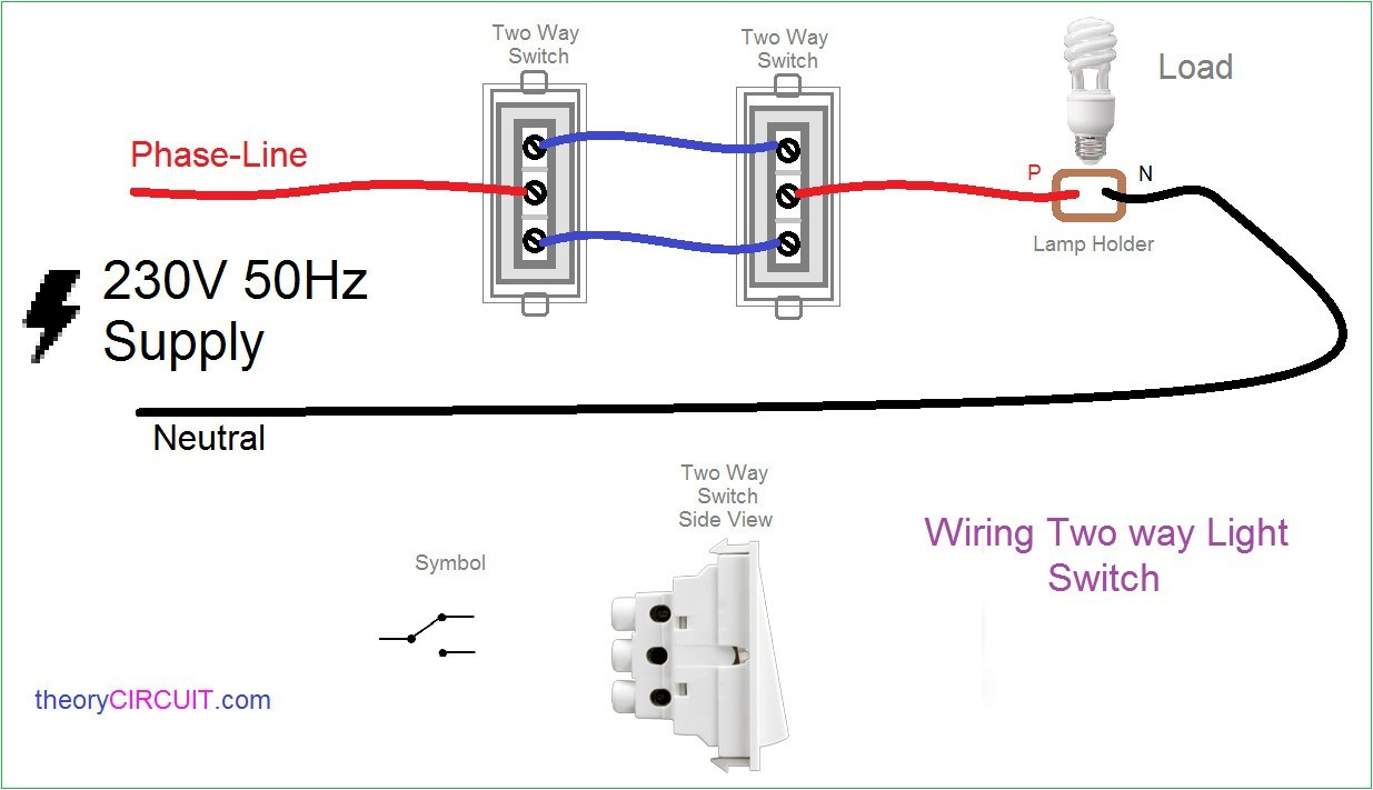 2 way light switch diagram wiring schematic