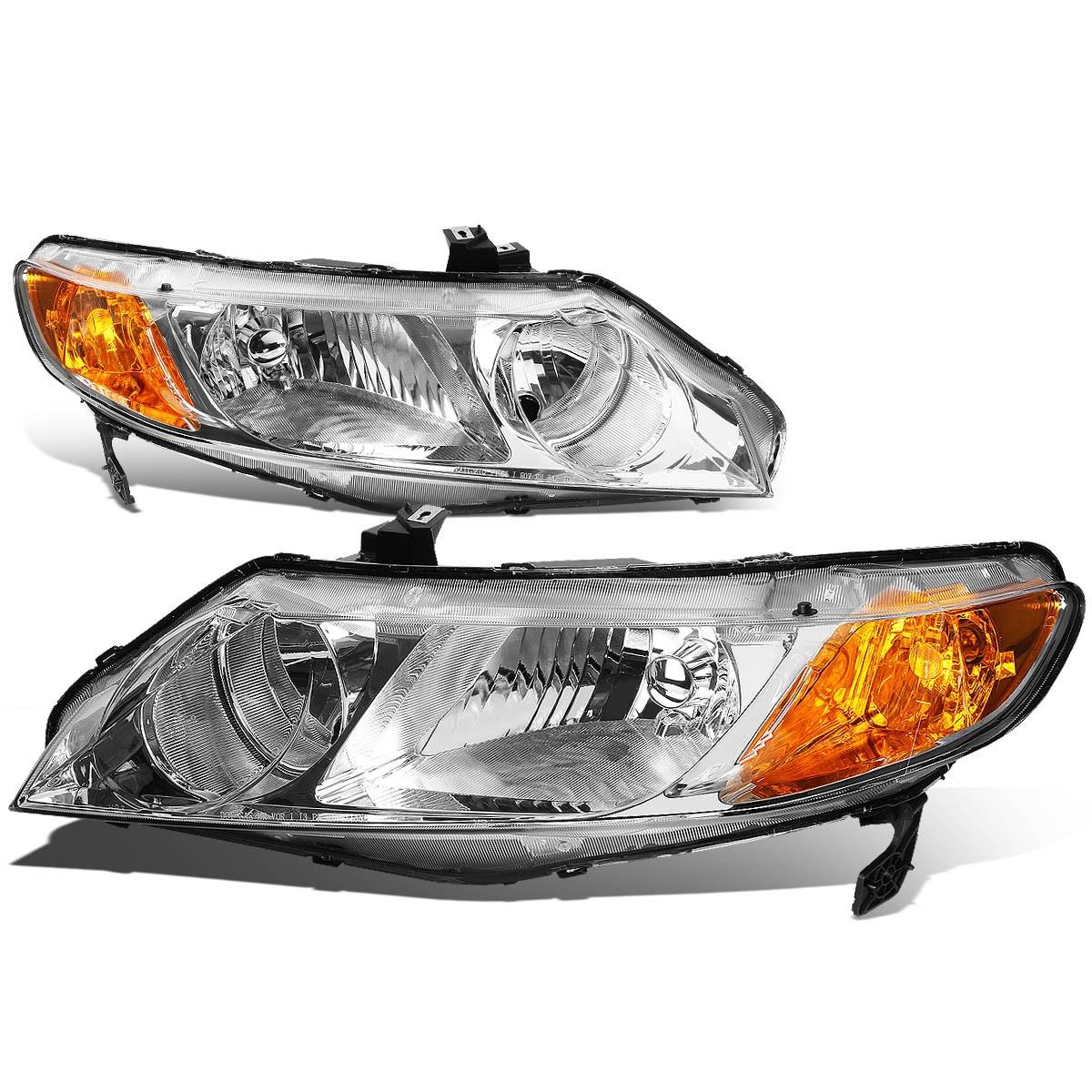 For 06 11 Honda Civic Sedan Pair of Chrome Housing Amber Corner Headlight 07 08