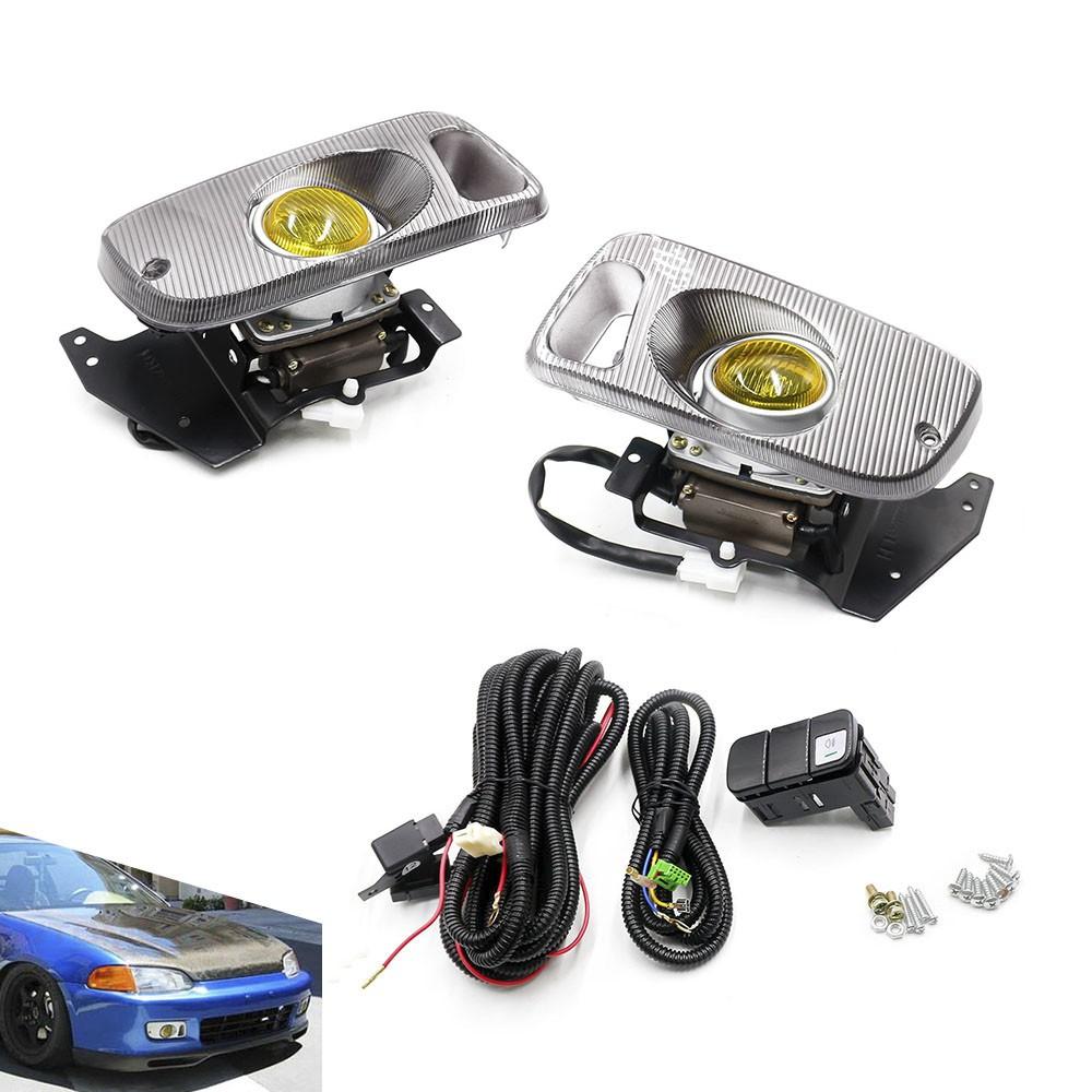 Yellow Fog Lights For Honda Civic 92 95 2 3DR EG Car H3 Fog Light 12v Bulb Front Bumper Fog Lights Full set With Switch in Car Light Assembly from