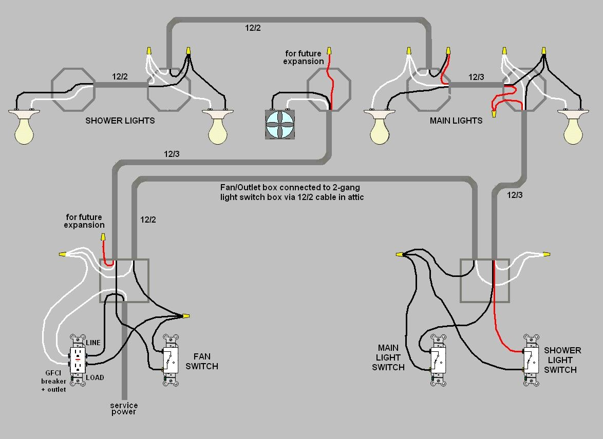 3 in 1 bathroom light wiring diagram