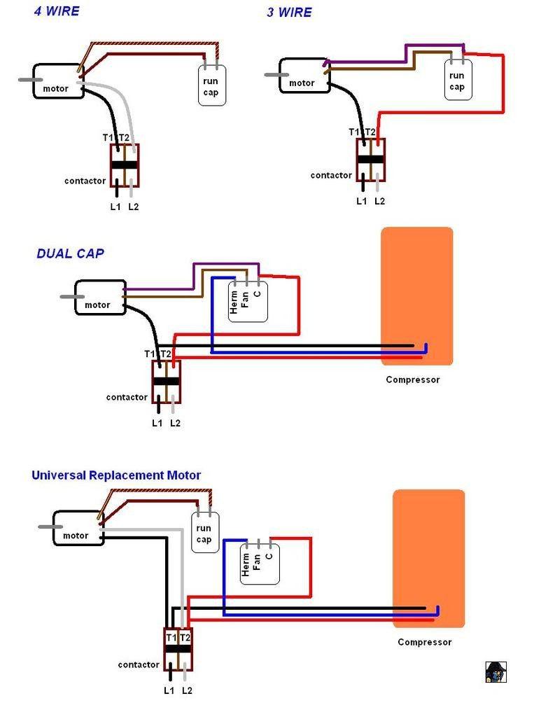 3 wire condenser fan motor wiring diagrams