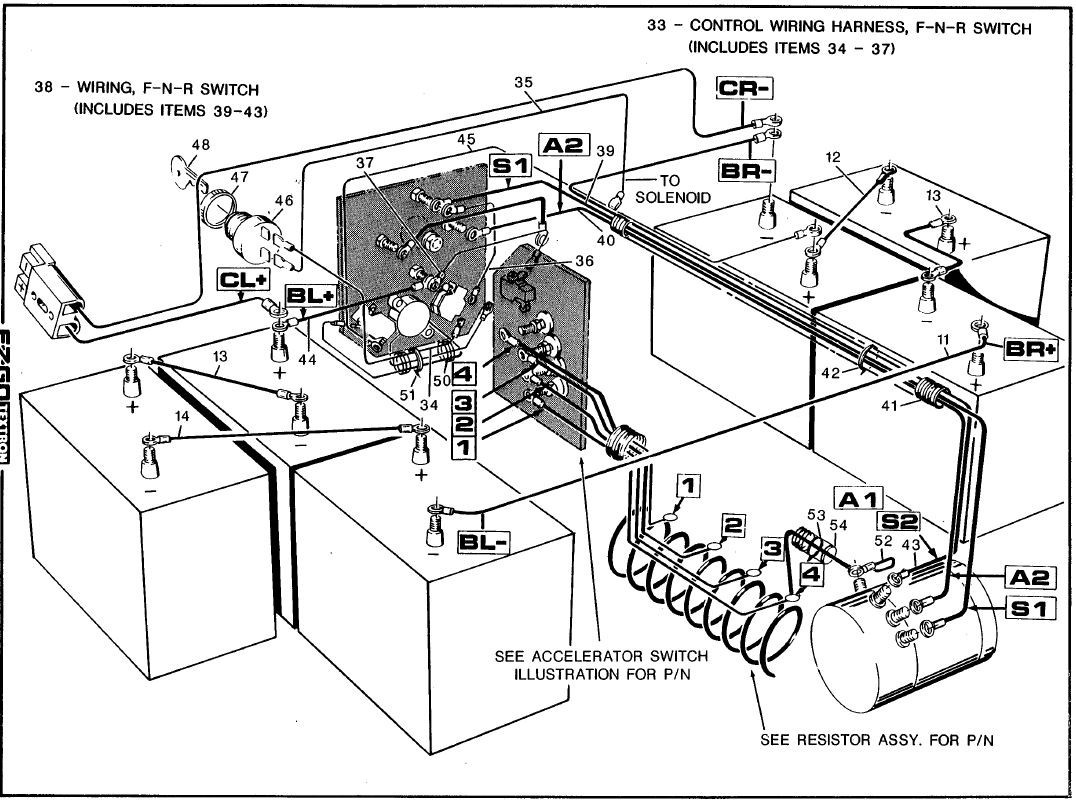 ezgo golf cart 48 volt solenoid wiring diy enthusiasts wiring rh broadwaycomputers us Ezgo 36 Volt Motor Wiring 36V Golf Cart Wiring Diagram