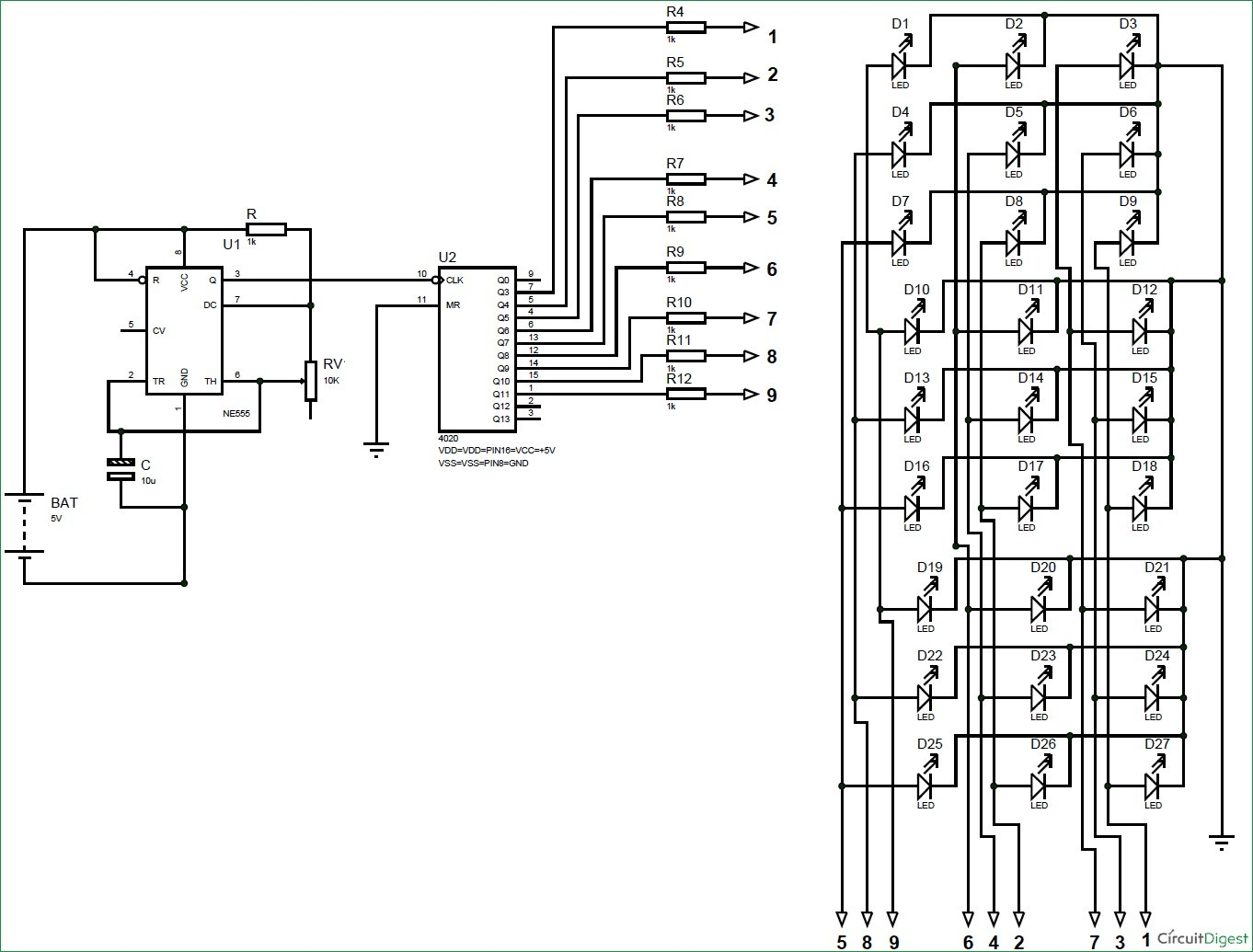 Sample Schematic Diagram Unique 3x3x3 Led Cube Circuit Diagram Using 555 Timer and Cd4020 Ic