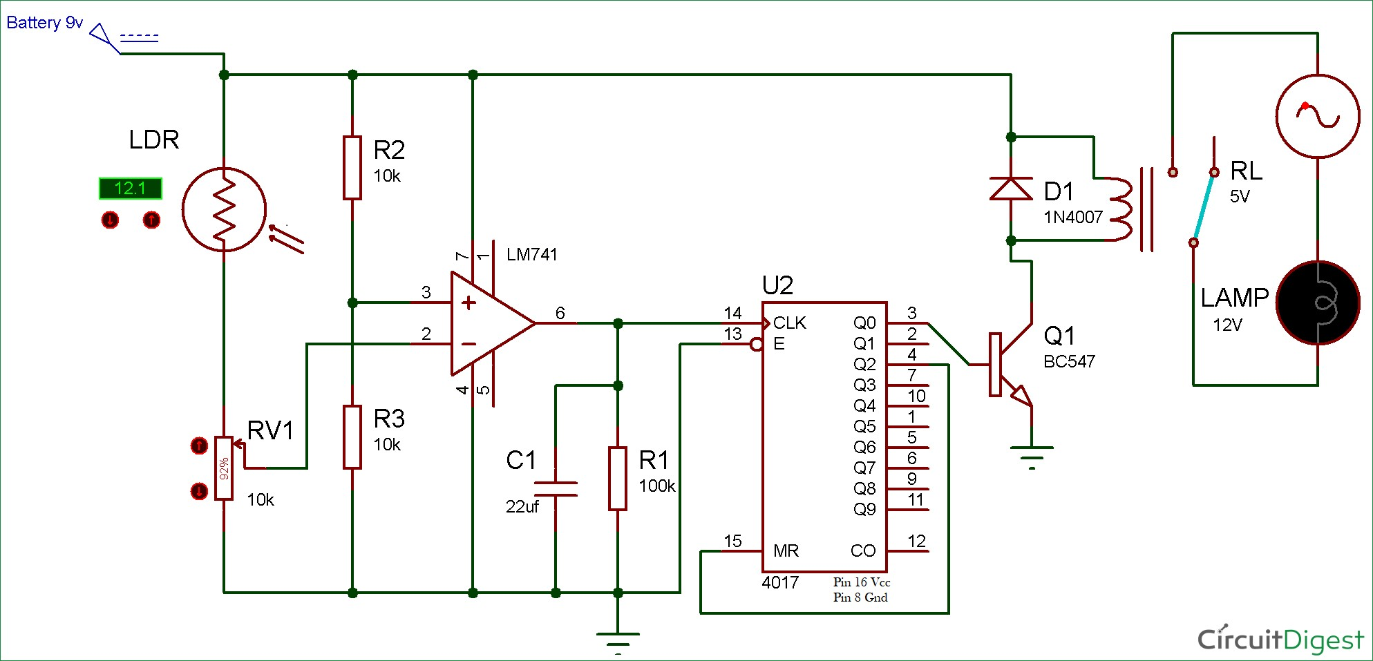 Circuit Diagram for Quiz Buzzer using 555 Timer IC Electronic Circuit Diagrams Pinterest