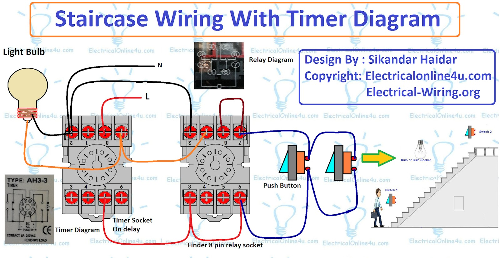 This post is about the staircase timer wiring diagram In the diagram i use the