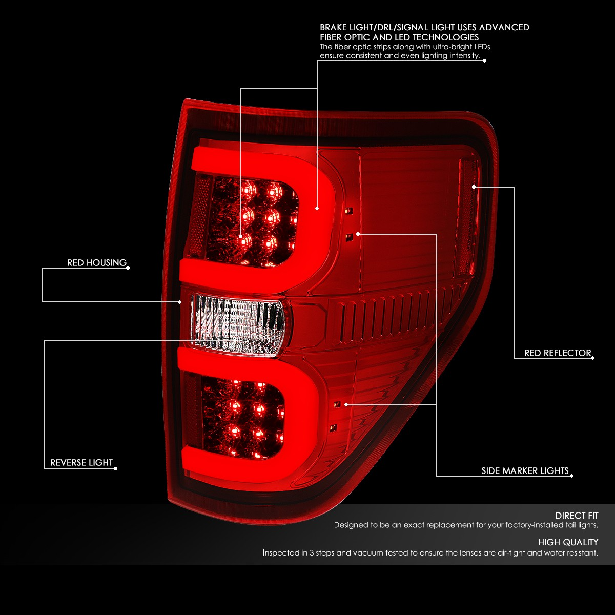 For 2009 2014 Ford F150 Pair Dual Red LED C Bar Tube Tail Light