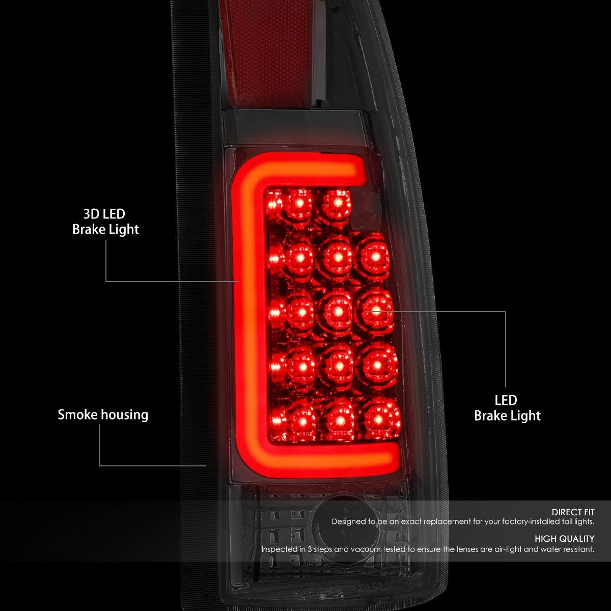 Amazon For Chevy GMC C K Series Pair of 3D LED Tail Brake Light Chrome Housing Smoked Lens Automotive