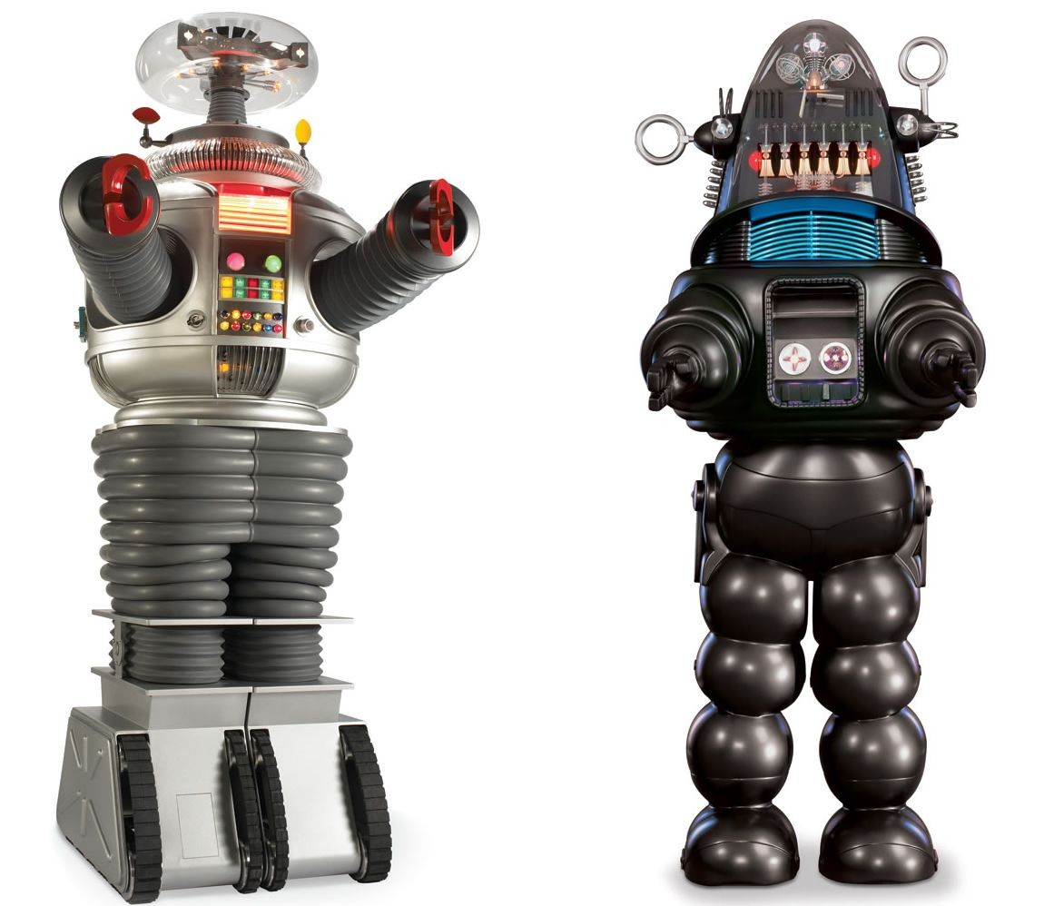 """Lost in Space"" Robot B 9 and ""Forbidden Planet"" Robby her at last"