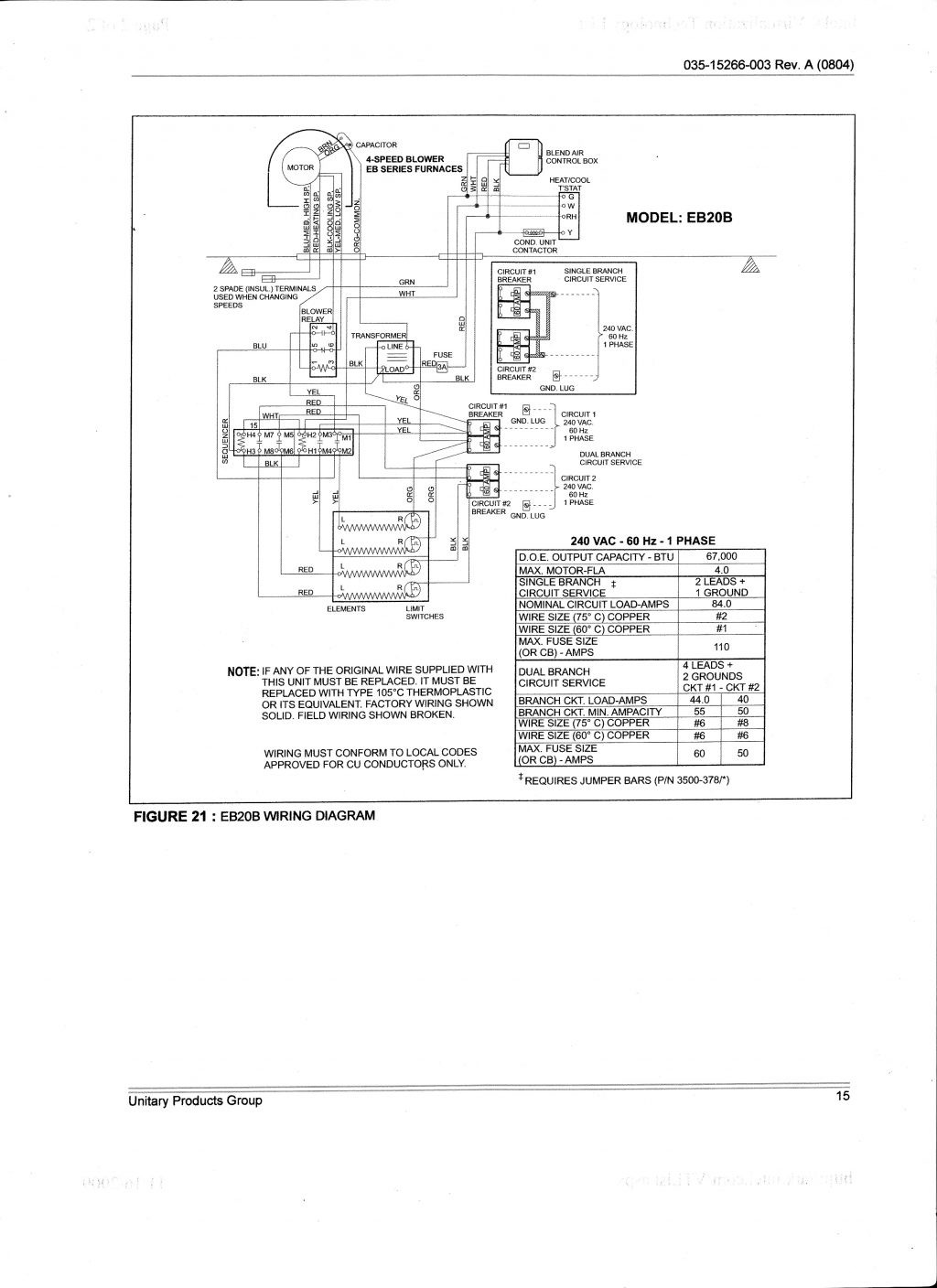 coleman evcon electric furnace wiring