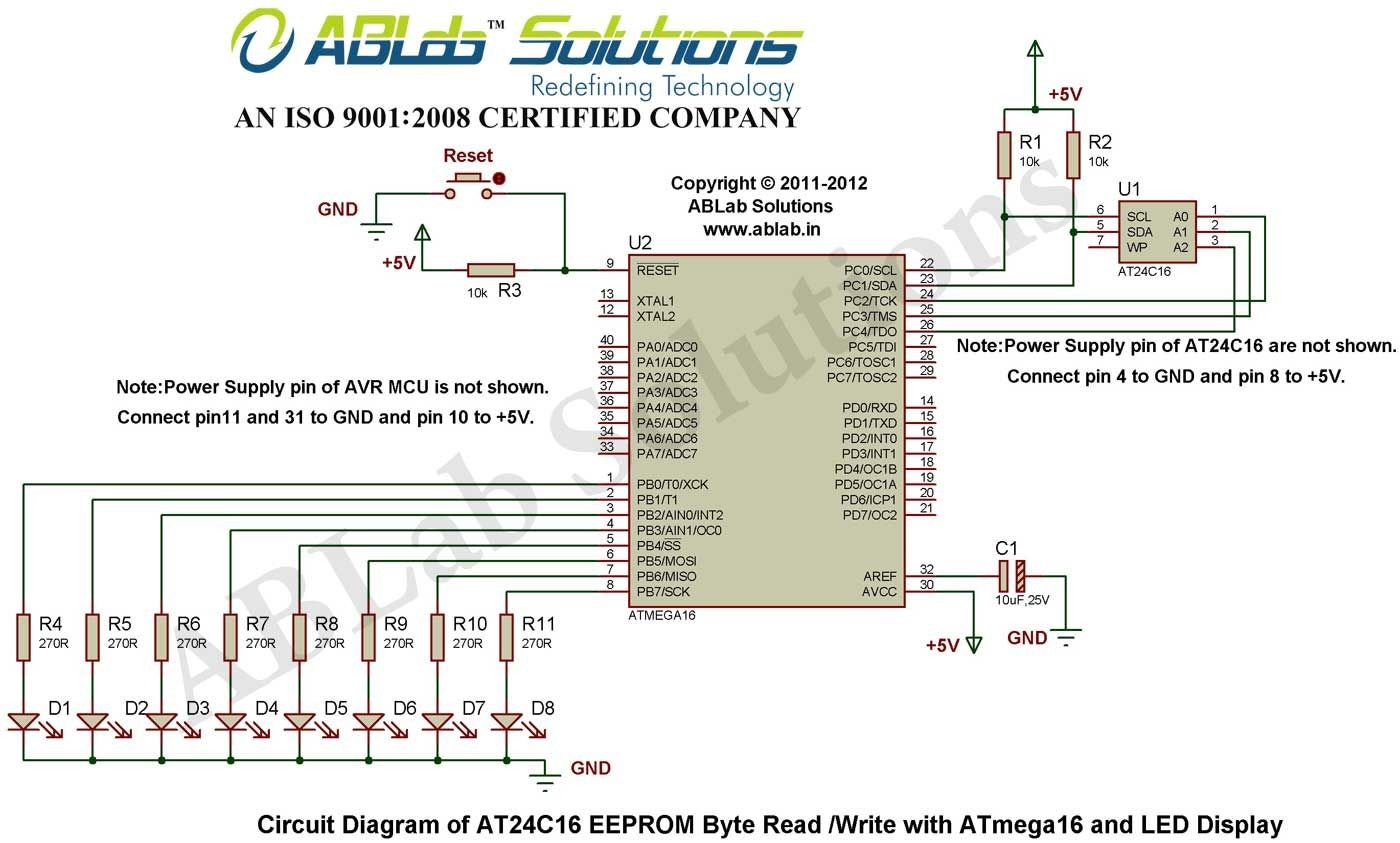 Microcontroller and LED Display Circuit Diagram