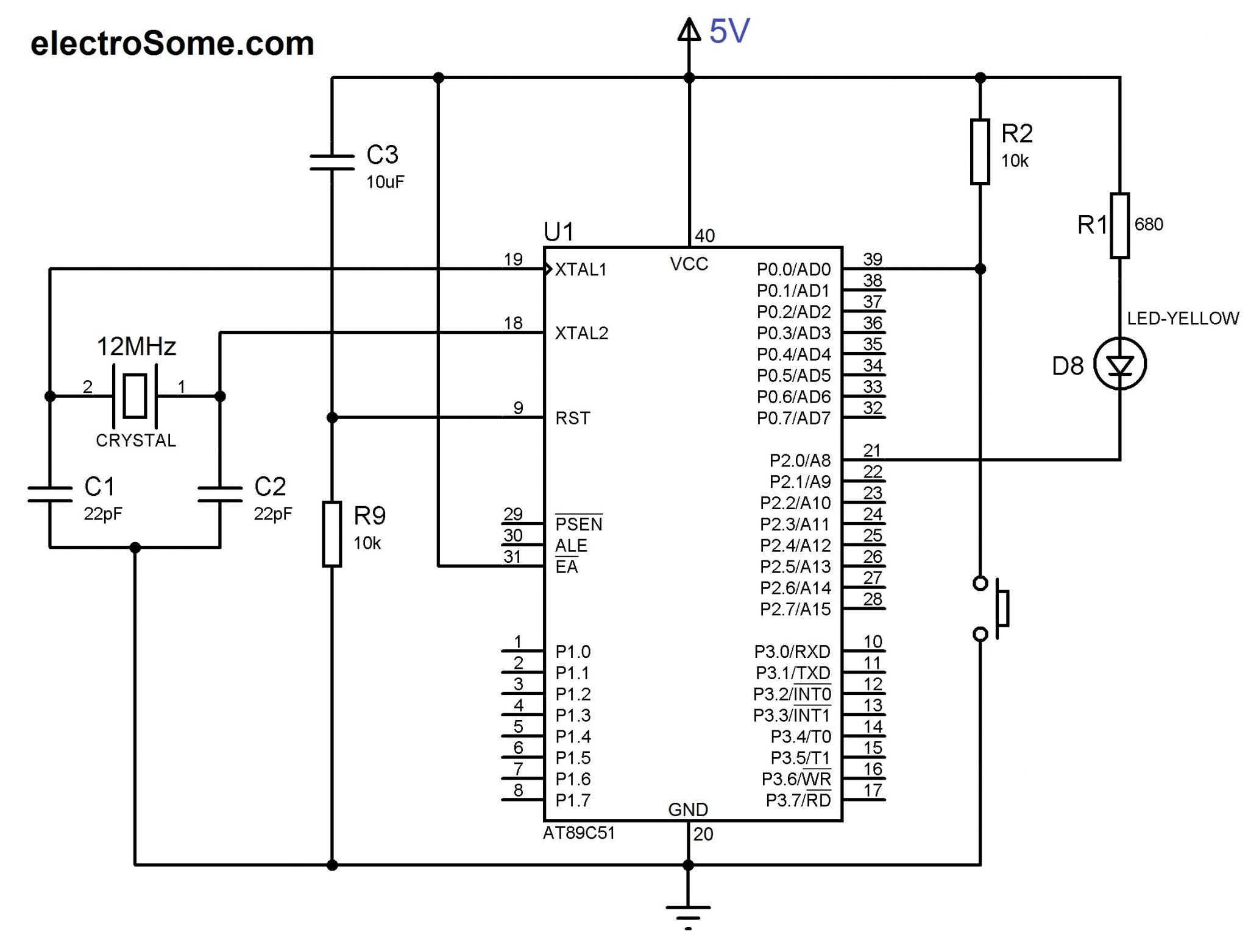 Circuit Diagram LED and Switch Interfacing with AT89C51 8051 Microcontroller