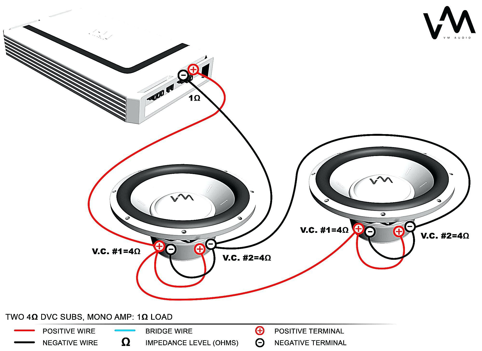 Dual Voice Coil Subwoofer Wiring For Subs In A Car Two Dvc 4 Ohm New
